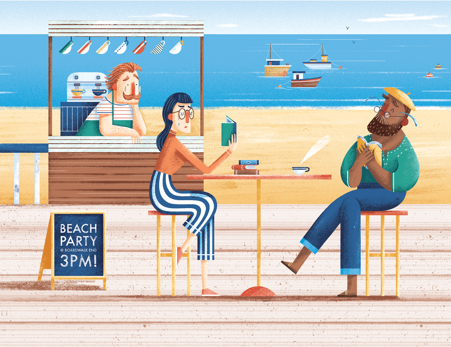 'Coffee on the boardwalk' © Jonty Howley Illustration