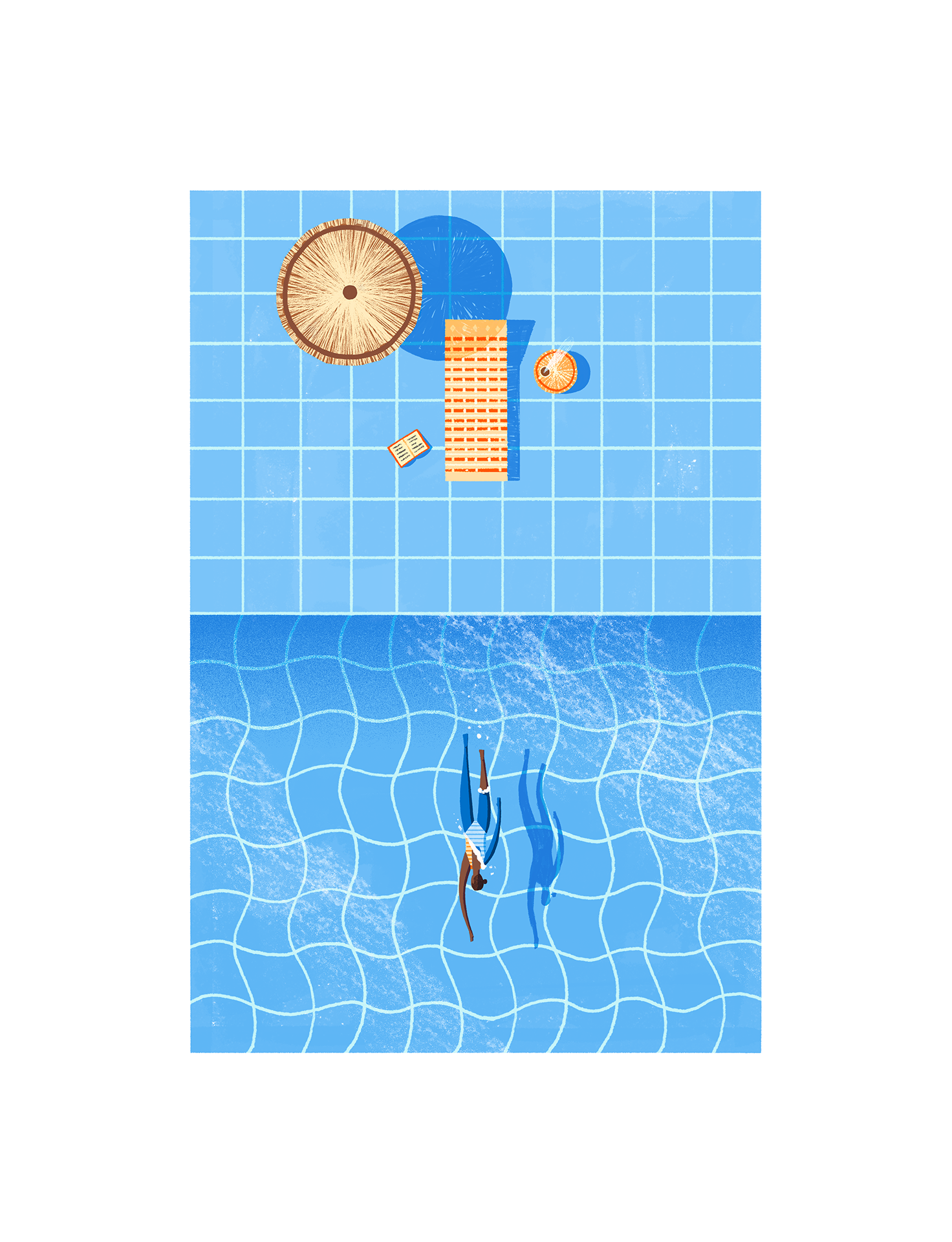 'Reader At The Pool' © Jonty Howley Illustration