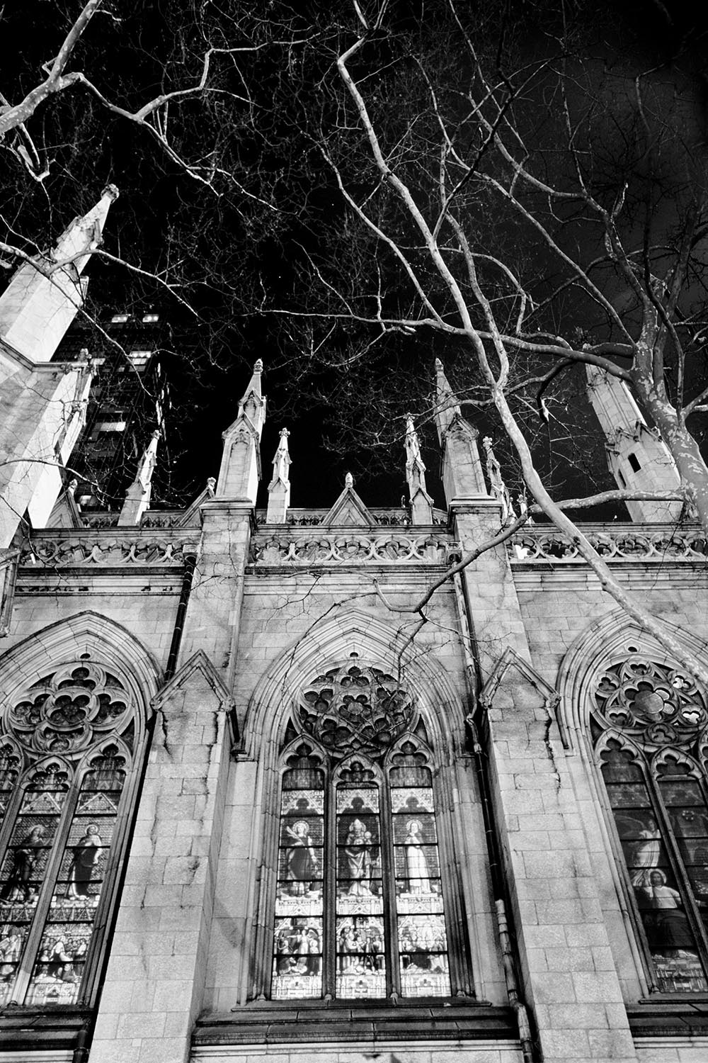 Black and white photograph of the stained glass windows at St. Patrick's Cathedral.