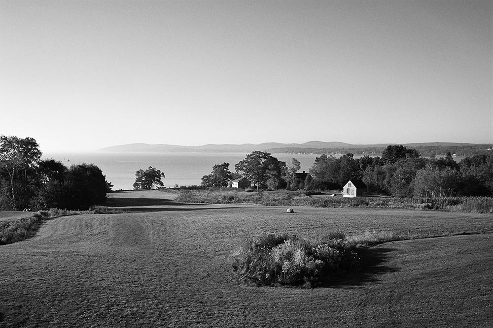 Black and white photograph of a beautiful landscape in Maine.
