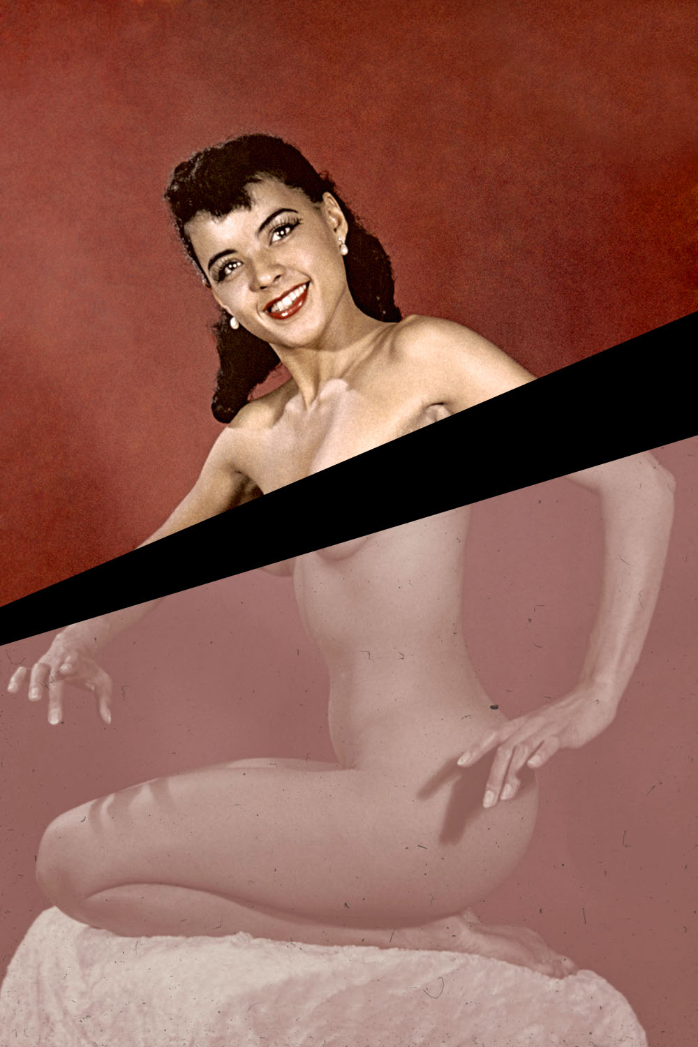 1950s-era pinup of a nude woman posing against a red background.