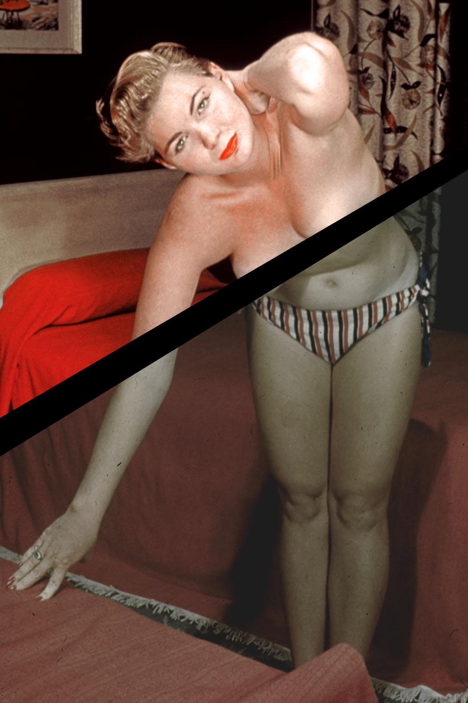 1950s-era topless boudoir photo.