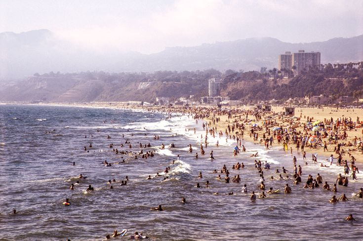 An elevated view of Santa Monica Beach in California, photographed on Fuji Velvia 50.