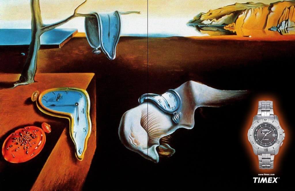Timex Spec Ad With Salvador Dali's Melting Clocks