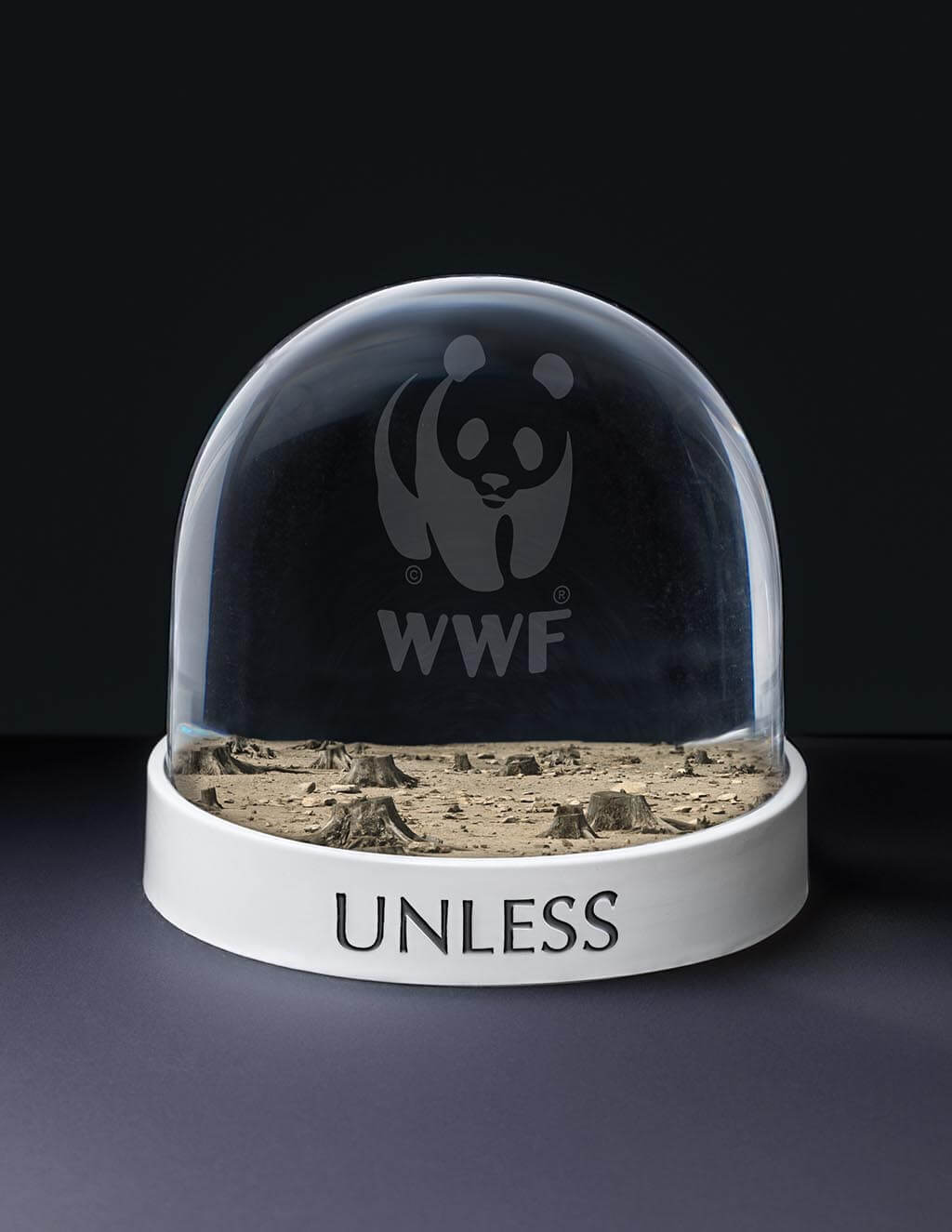 WWF Barren Snow Globe Spec Ad