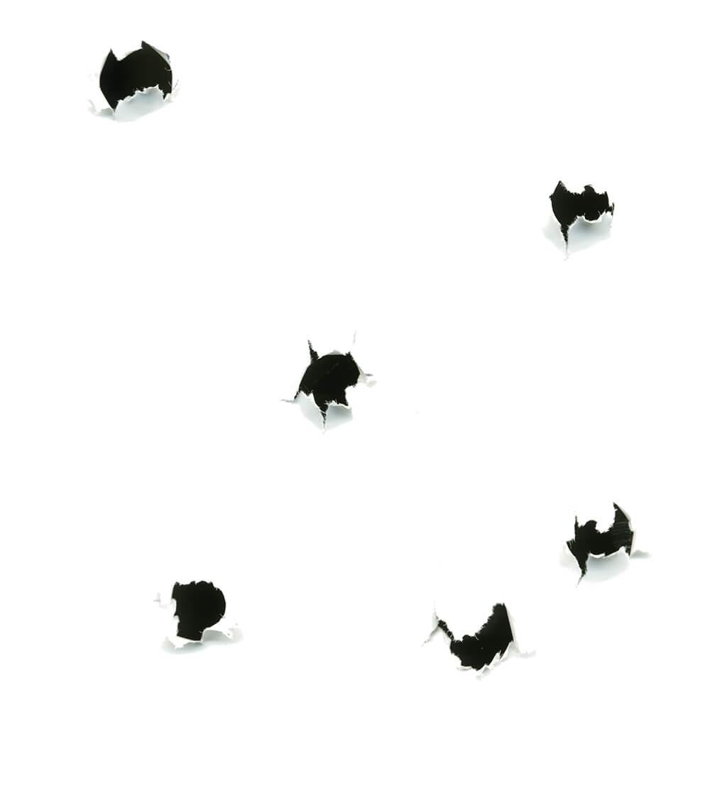 Bullet Holes on White Stock Photo by John W. DeFeo