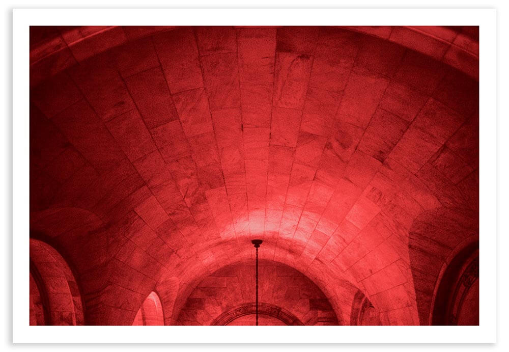 The tunnels in the New York Public Library on 42nd Street can look like a dungeon, especially when long photographic exposures cause your film to color shift to a bloody red.