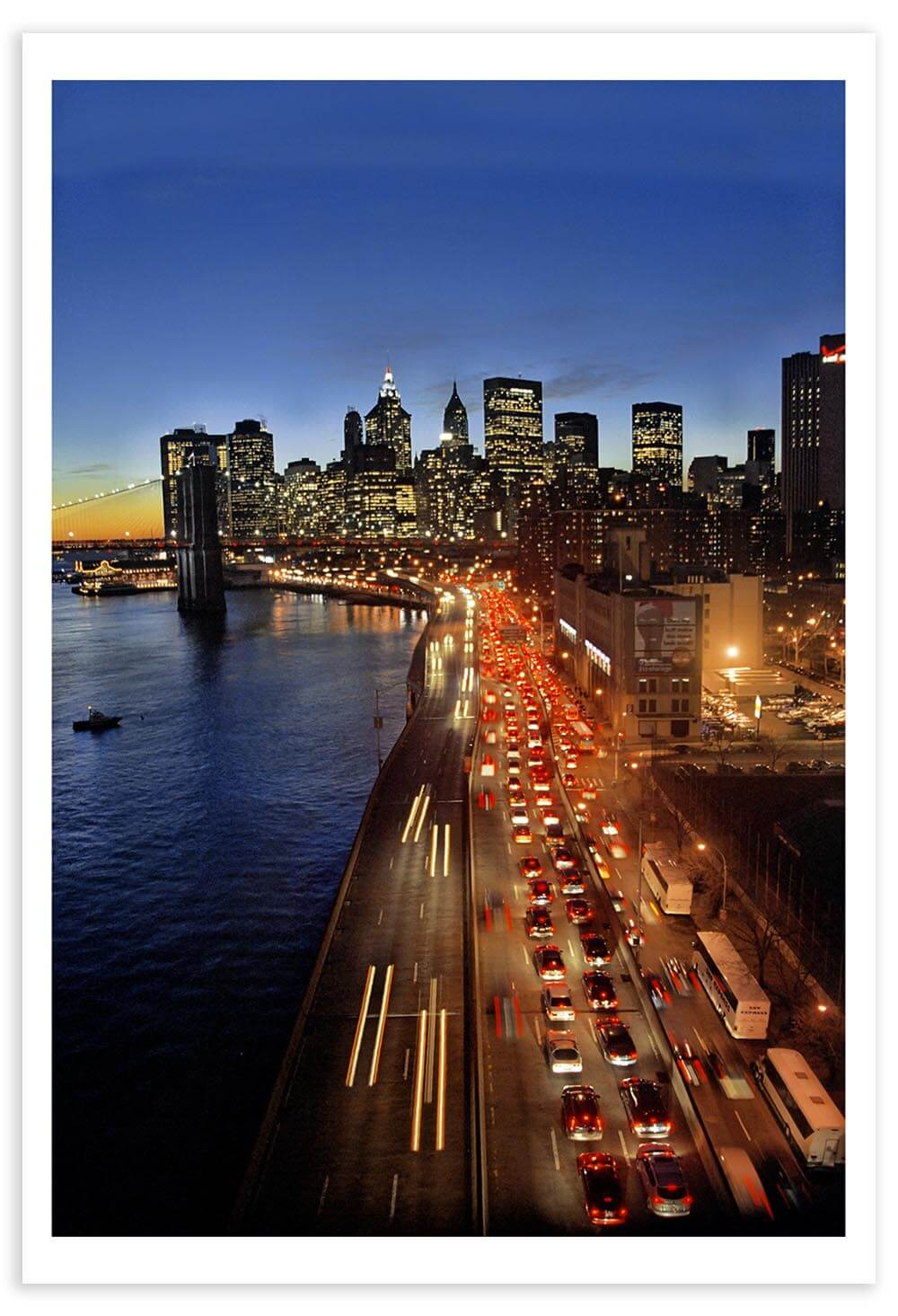 This photo was taken from the Manhattan Bridge during the 2005 New York City transit strike. I remember being very cold and tired as I walked from Manhattan back to Windsor Terrace (Brooklyn).
