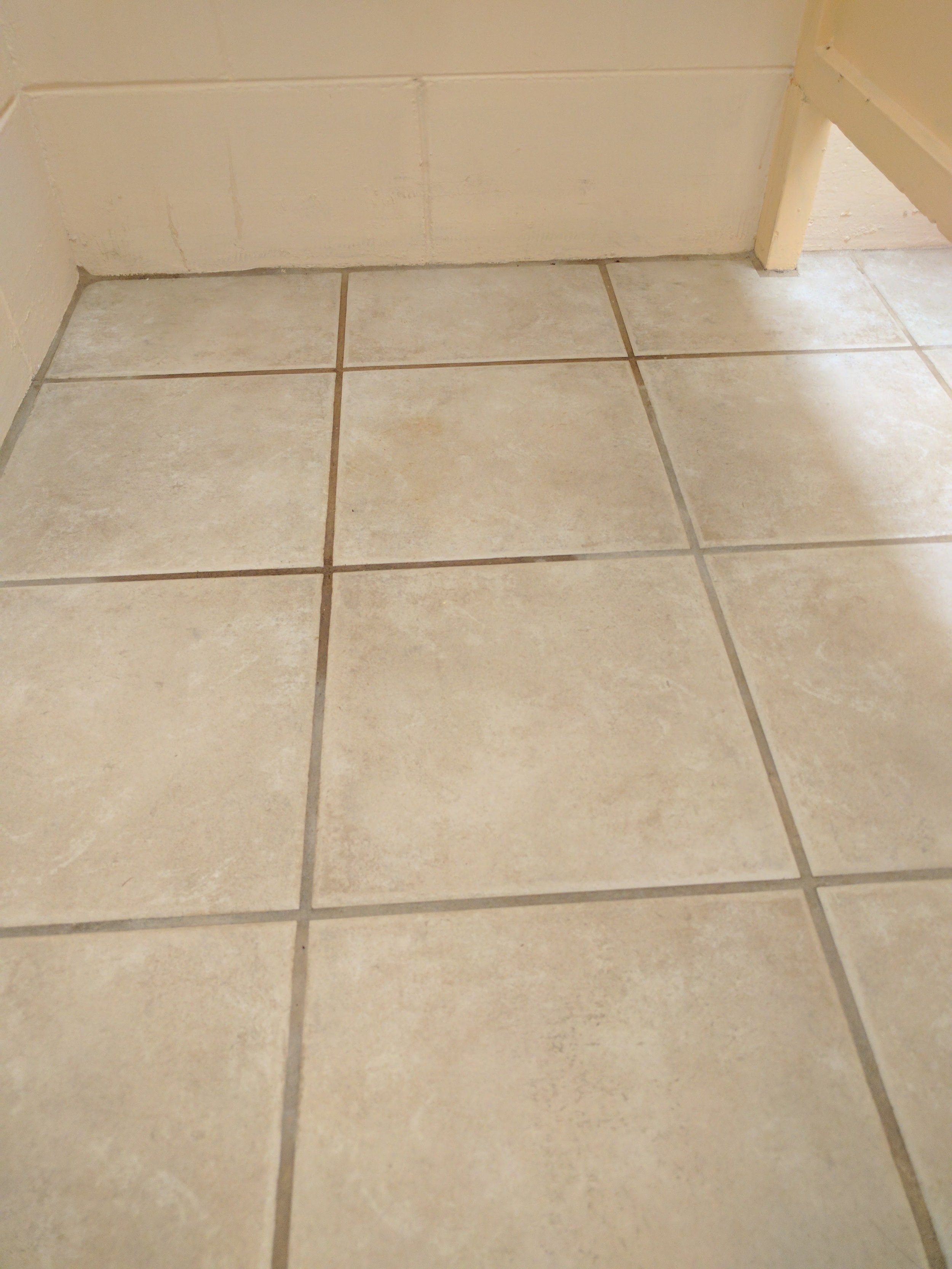 Before picture of dirty bathroom floor.