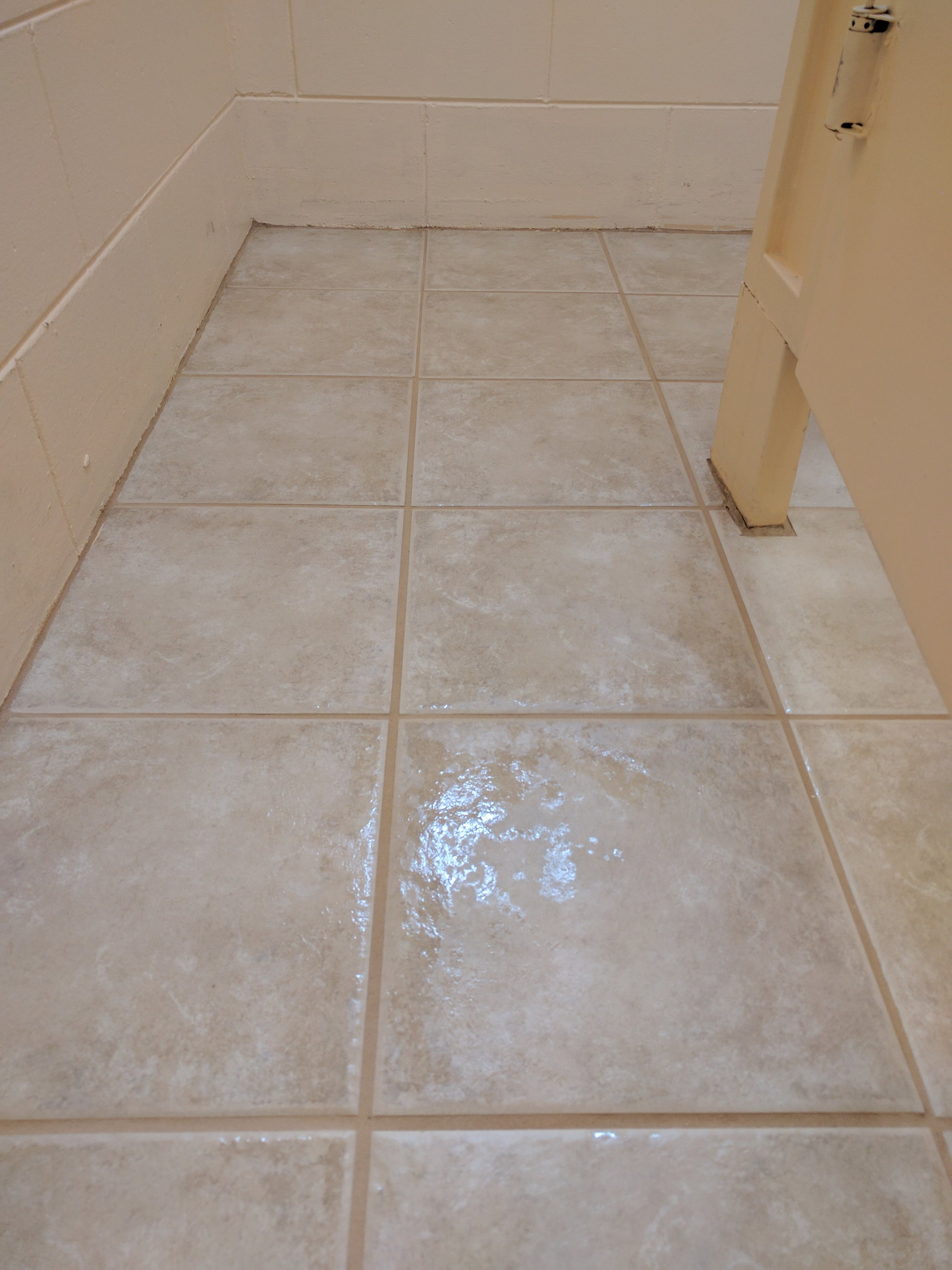 After proper solution had been applied and floor was steam cleaned.