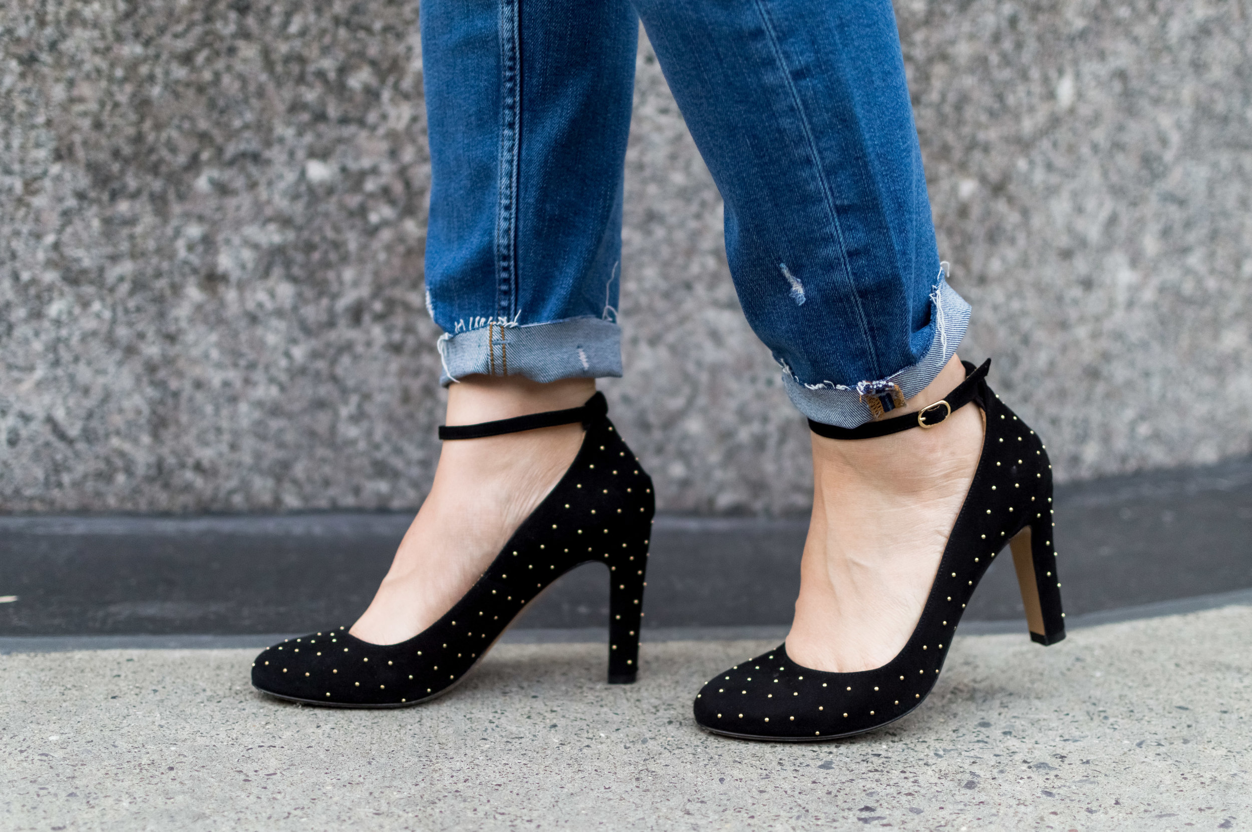 This pair of studded black pumps is from Sezane, one of my new favorite brands!