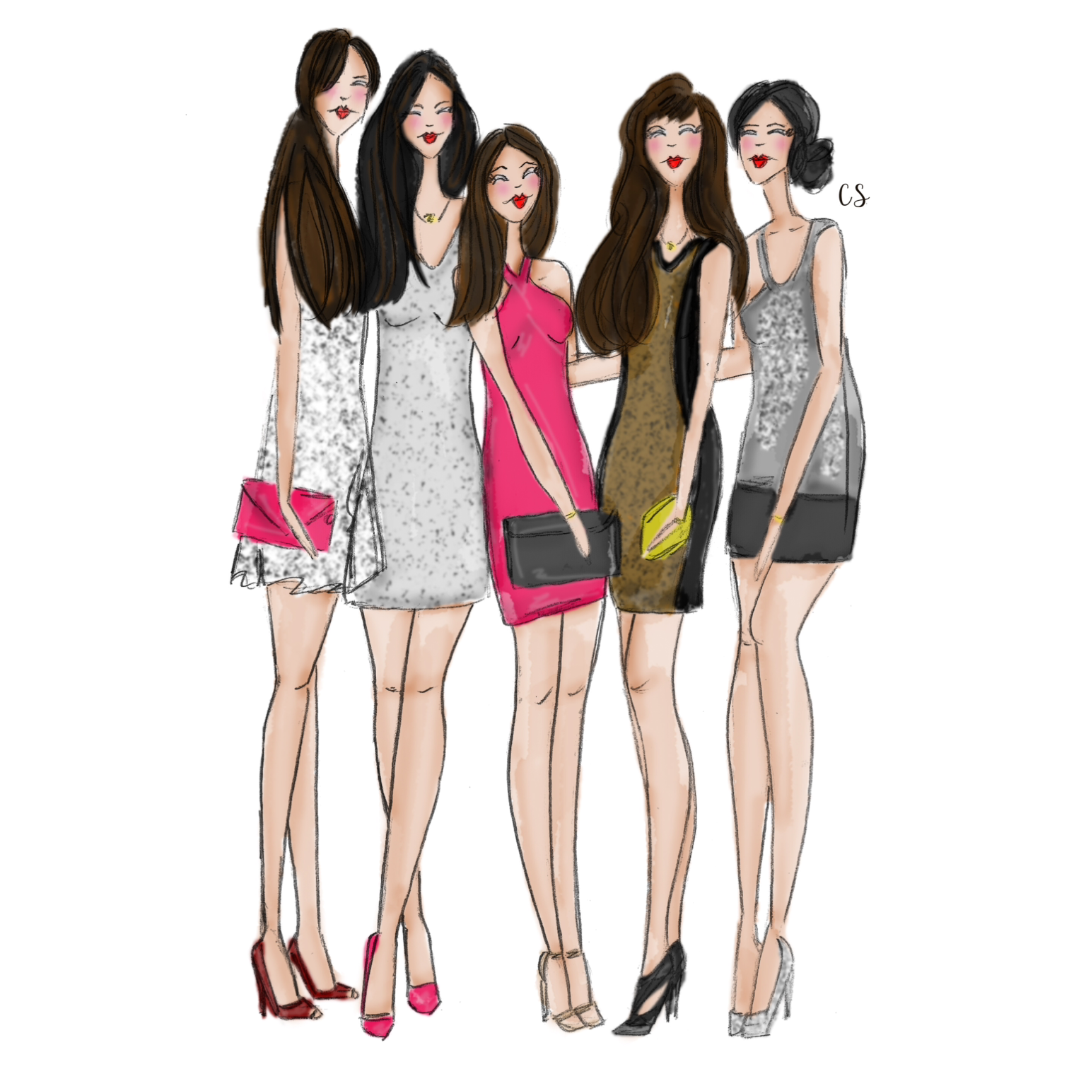An illustration of my girlfriends and I by  Candace Skaggs Illustration .
