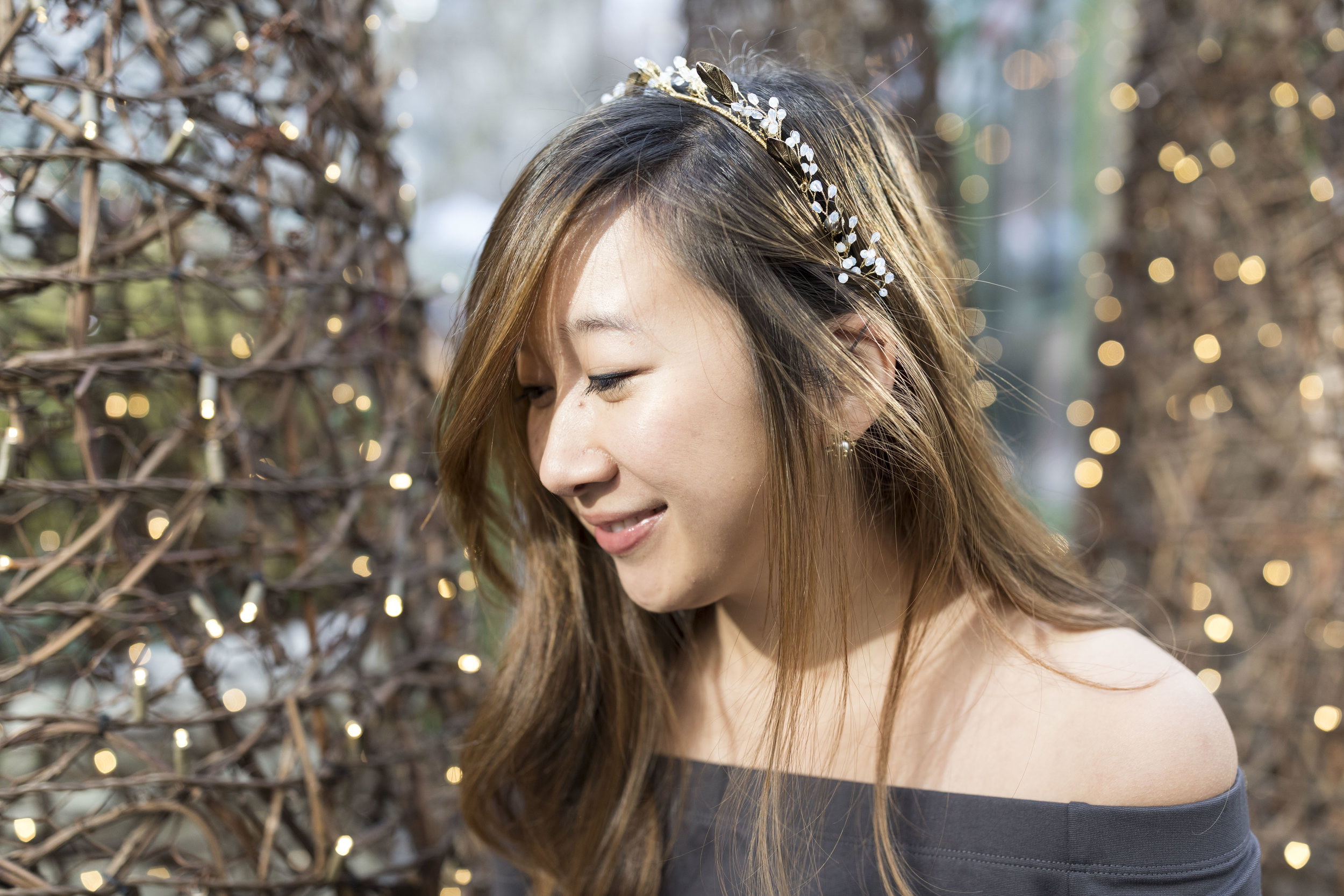 I'm wearing the Laurel Crown by Maggie Wu Studio; my stud earrings are also from the same brand. Photo by  Ashley Gallerani .