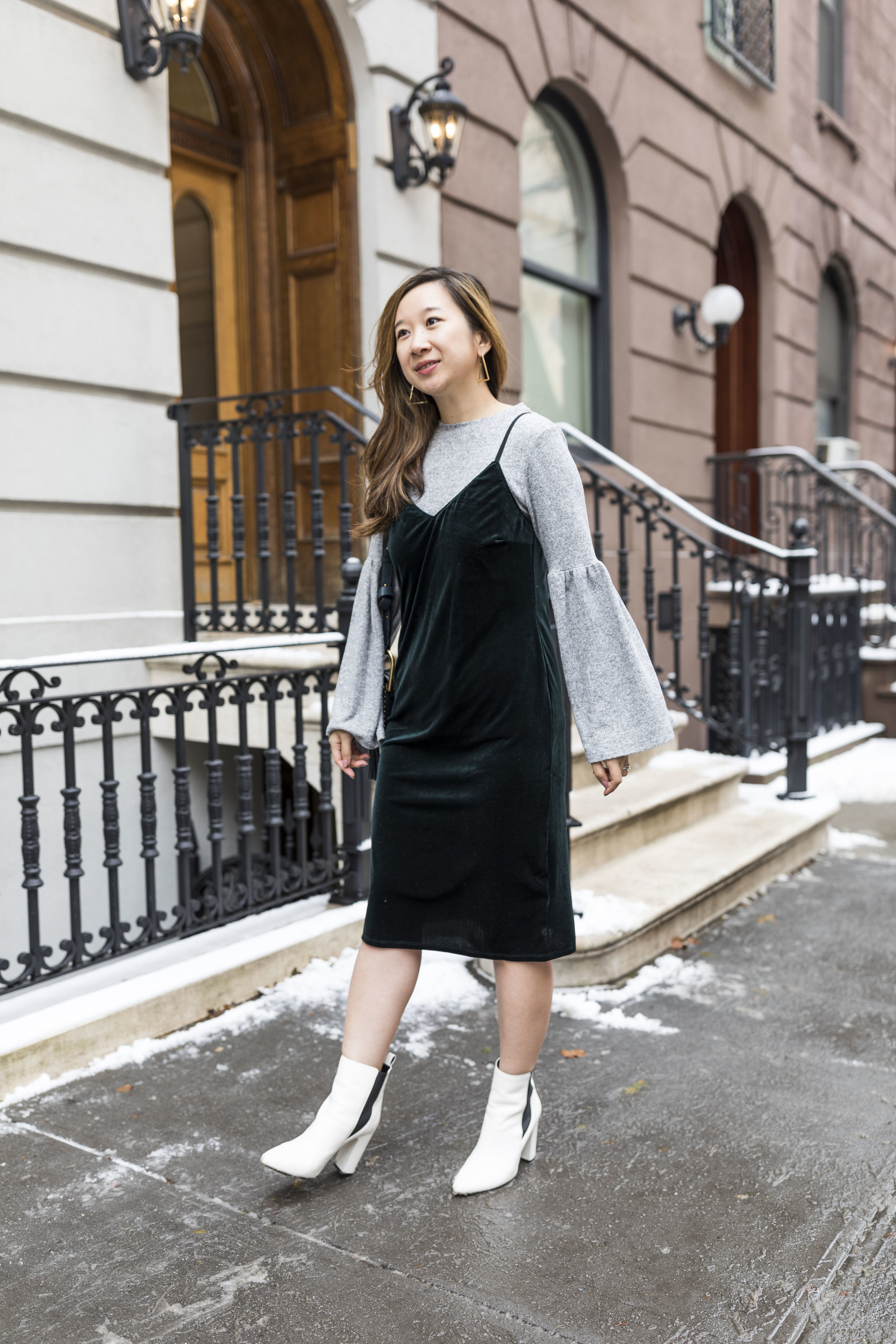 Winter Style No. 1 - Velvet Cami Dress over a Sweater