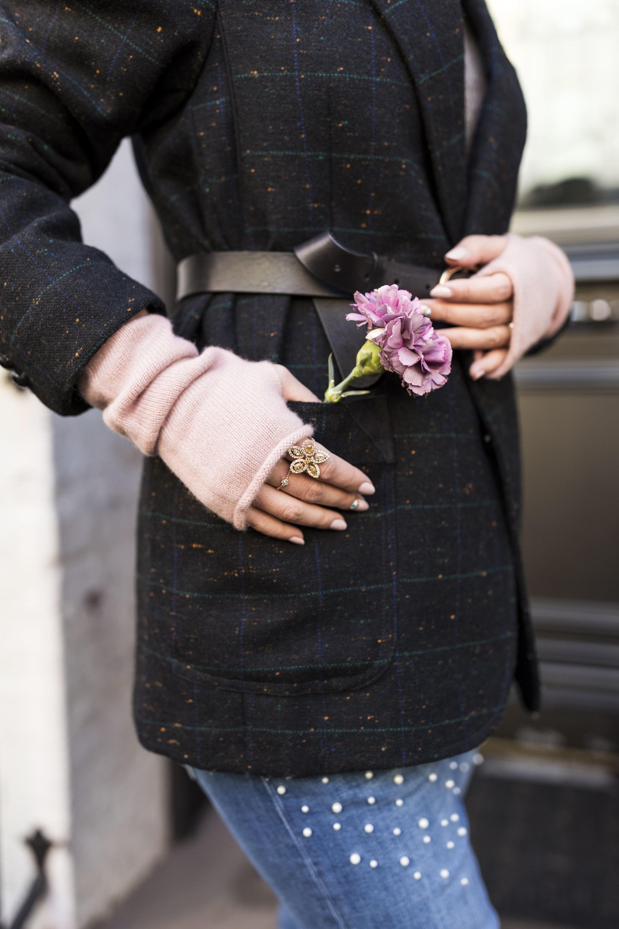 My  fingerless gloves  are from Naadam. Photo taken by  Ashley Gallerani .