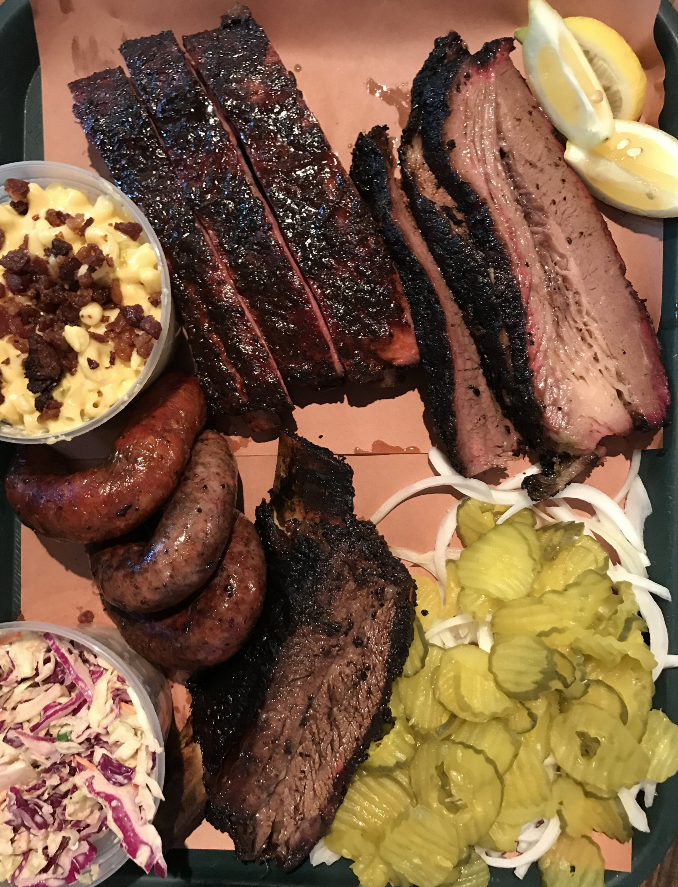 The bbq at Pecan Lodge tasted amazing!