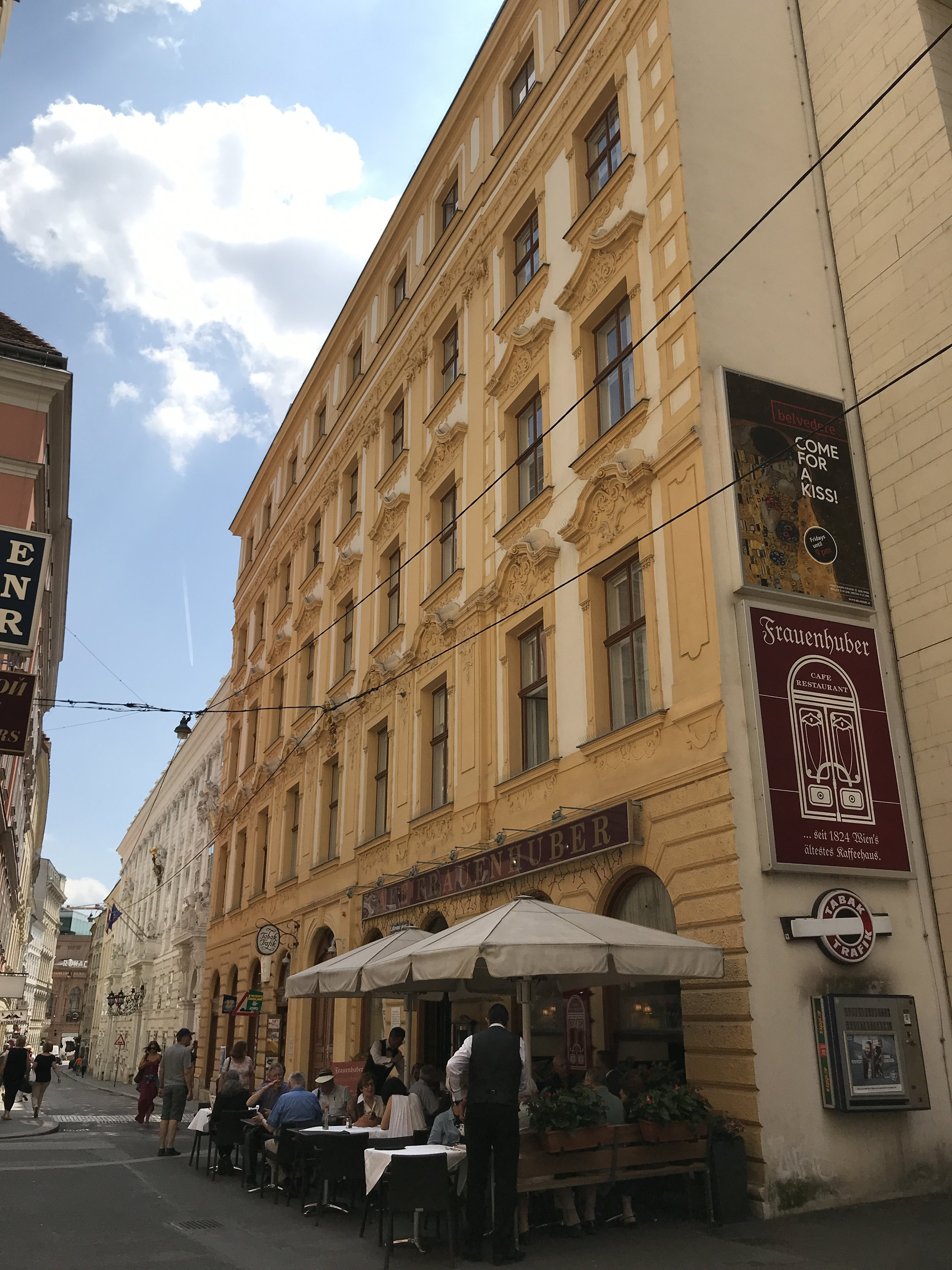 The tour guide shows us Café Frauenhuber, the oldest cafe in Vienna. Both Mozart and Beethoven have performed here before.
