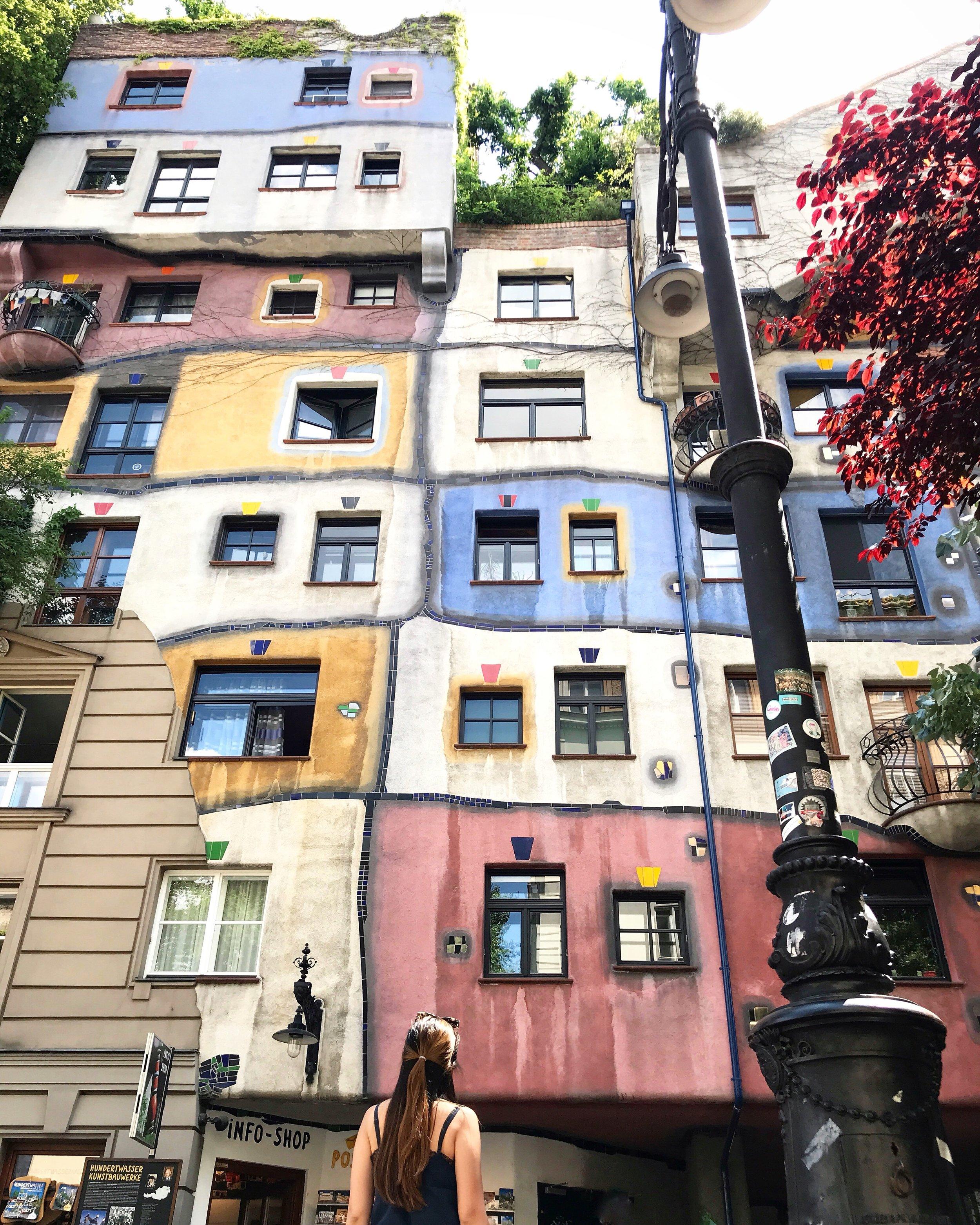 Checking out the Hundertwasserhaus located on Kegelgasse 36-38, 1030 Wien, Austria