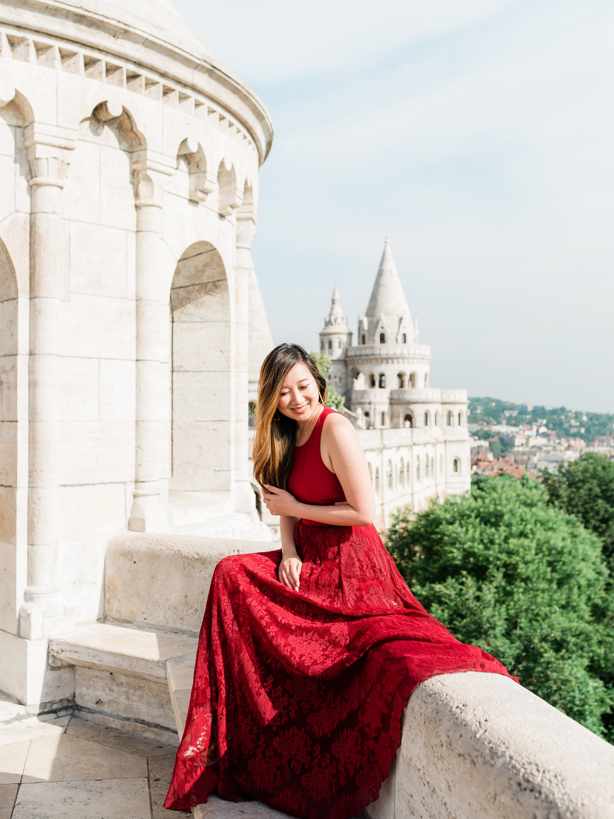 Dress by Sachin & Babi (similar  here  and  here ).  This set of photos at Fisherman's Bastion was taken by  Dana J. Ardell ; you can check out more shots from this collection  on her blog .