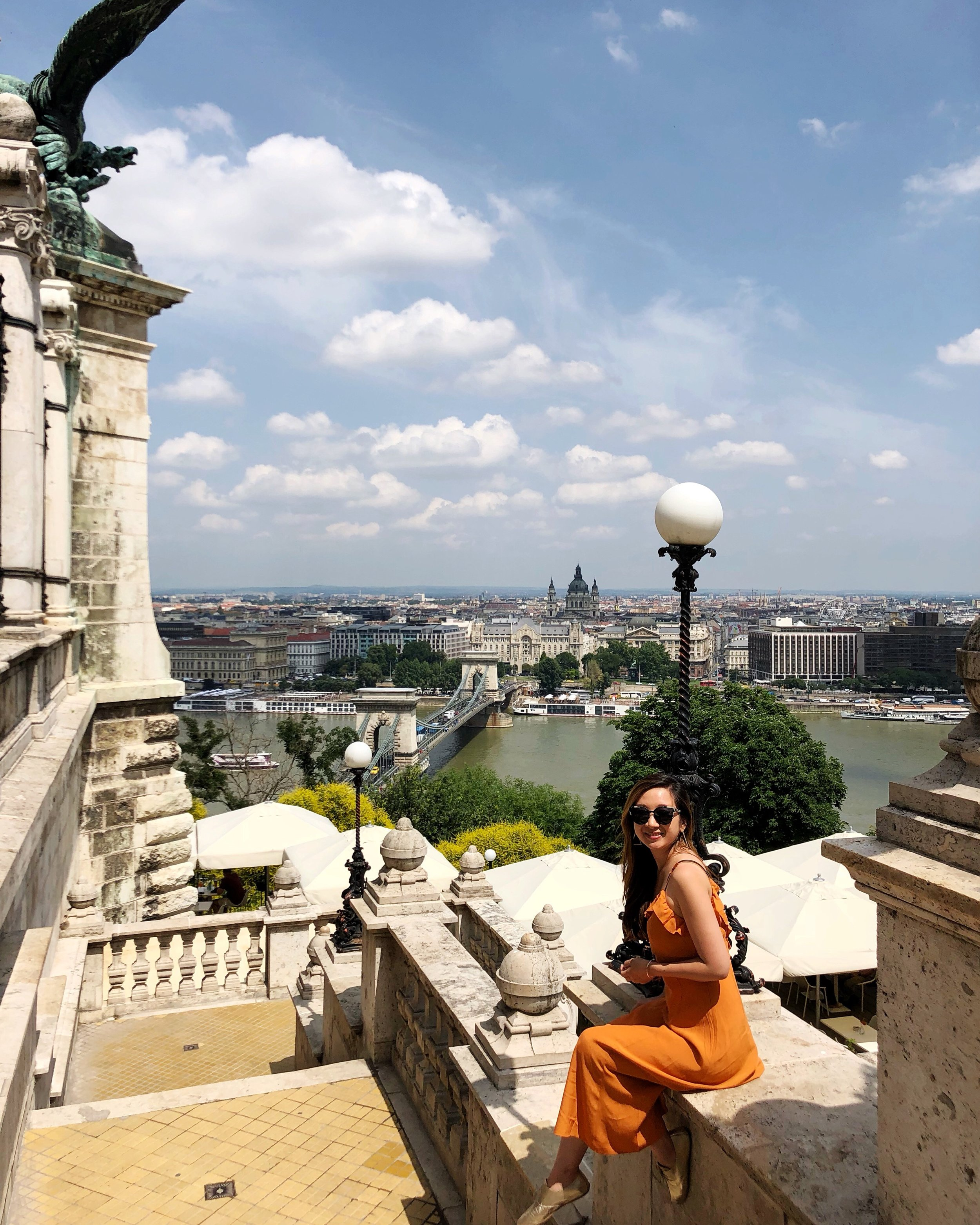 Wearing the orange dress in Budapest earlier this summer.