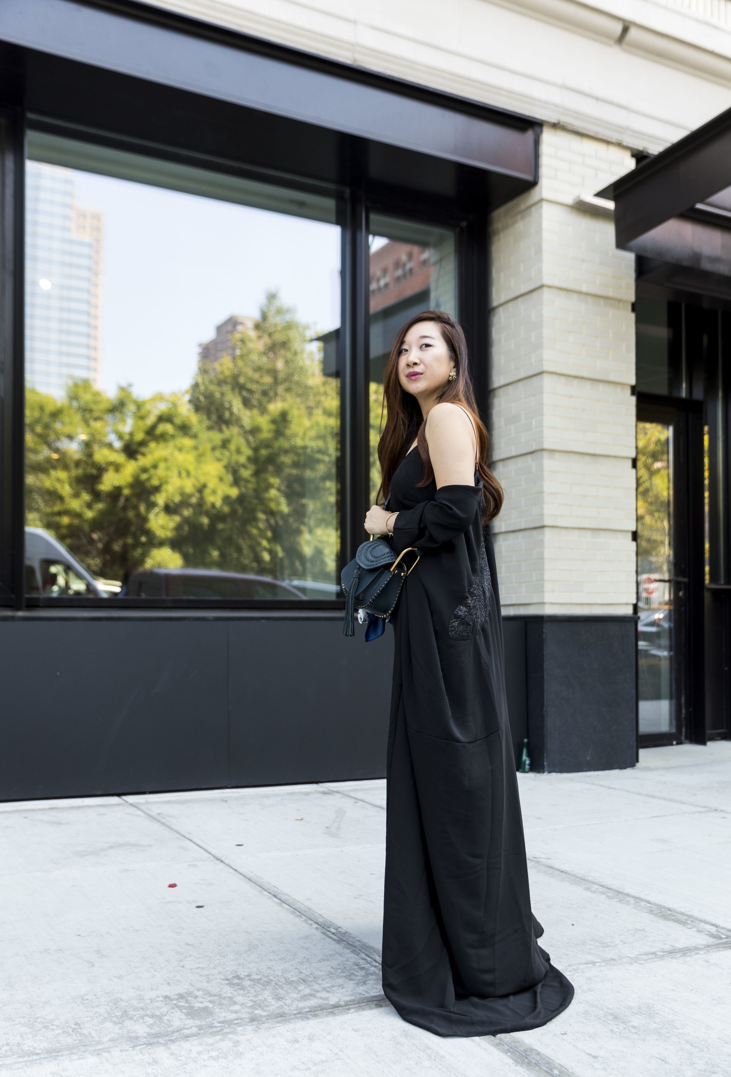 #NYFW Day 1 - Featuring Noon By Noor's black dress and cape gown.