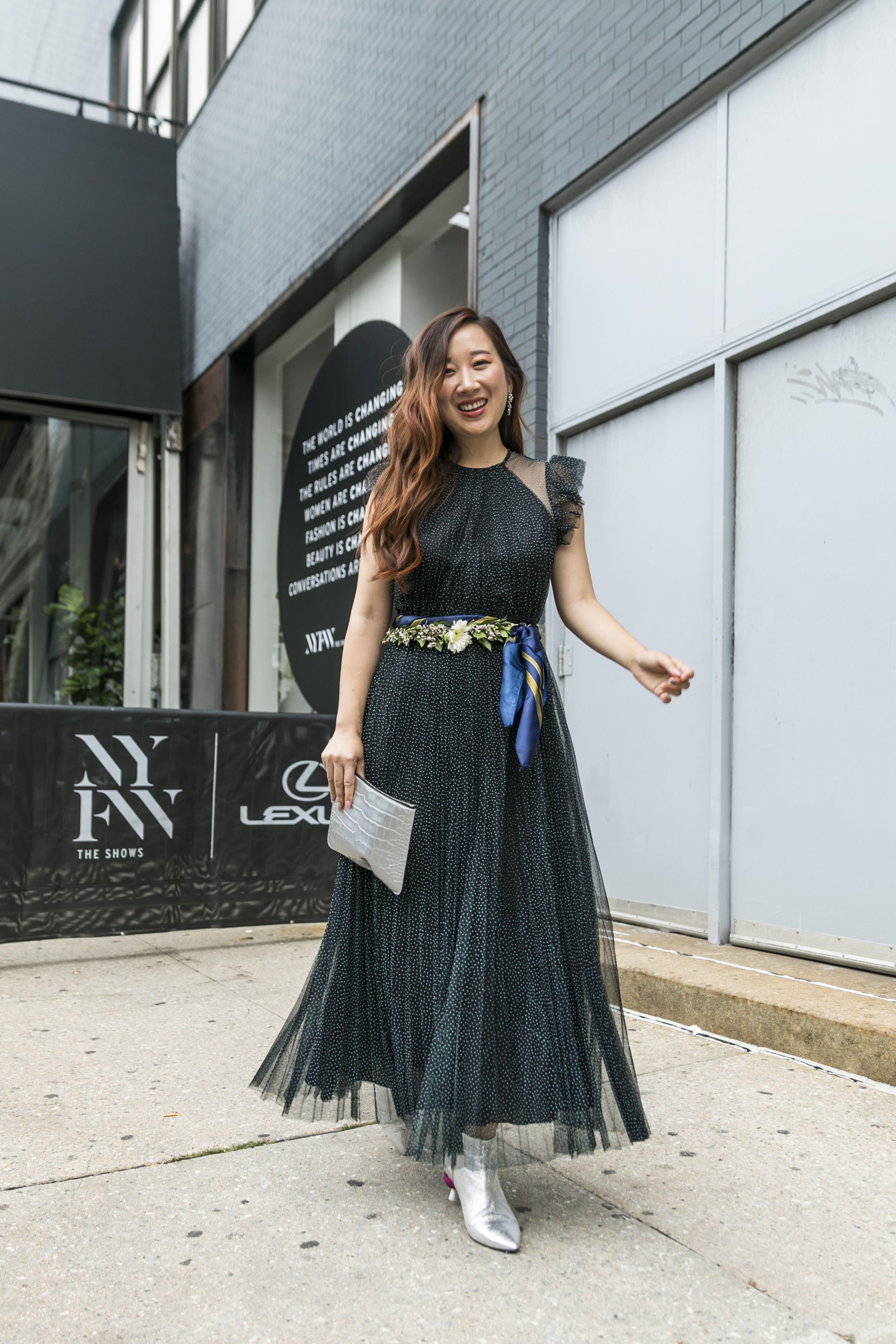 #NYFW Day 6 - A tulle dress featuring a silver pouch by Jeff Wan.