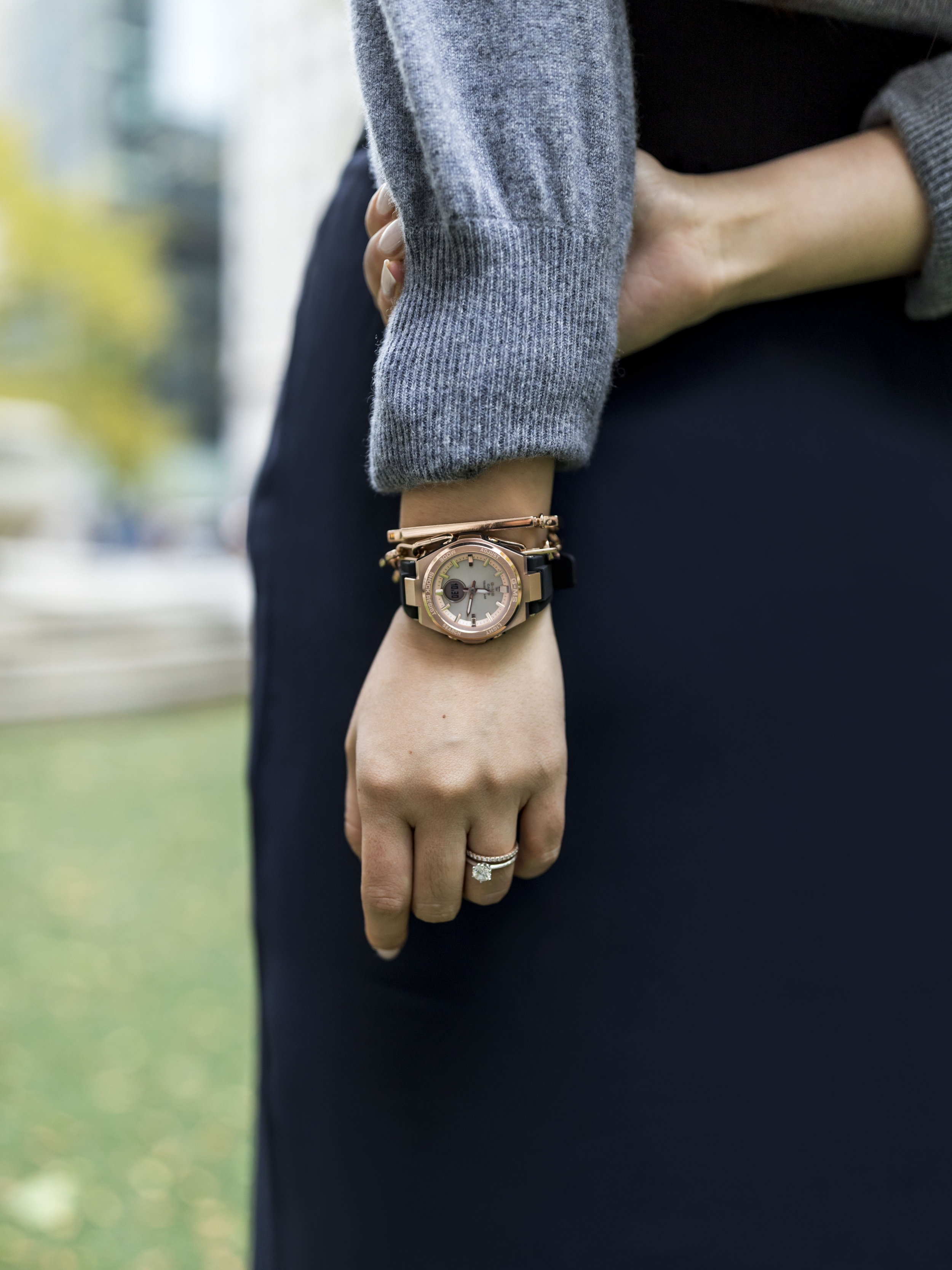 I received this rose gold watch from the G-MS line as a gift from G-SHOCK; photo by Ashley Gallerani Photography.