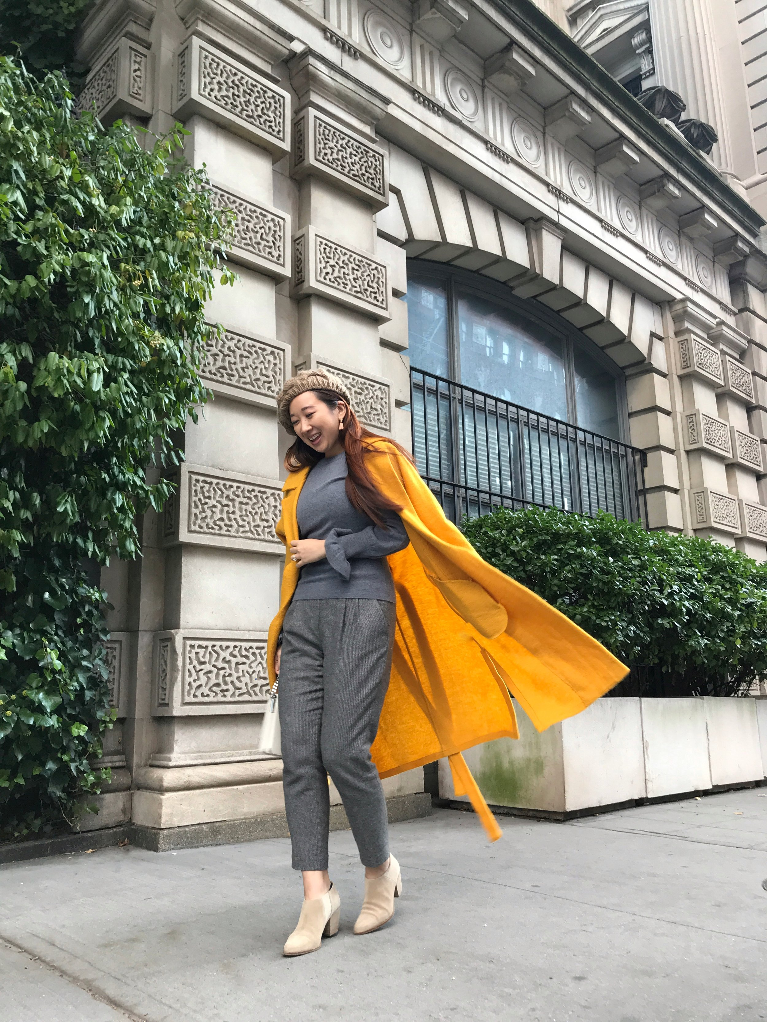 Monochrome + A Pop of Color - When in doubt, or short on time in the morning, just go for the same color from head to toe, because you can never go wrong with monochromatic outfits!I paired the sweater over my grey wool pants, and to add a pop of color, I reached for a yellow coat.
