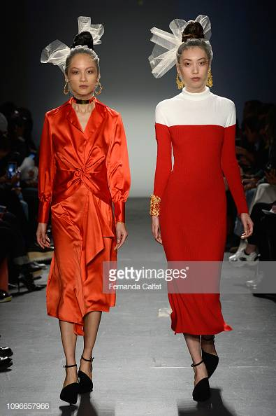 Two looks from Donna Zhong's Fall '19 collection. The color blocking dress on the right is minimal and bold at the same time. Image: Getty.