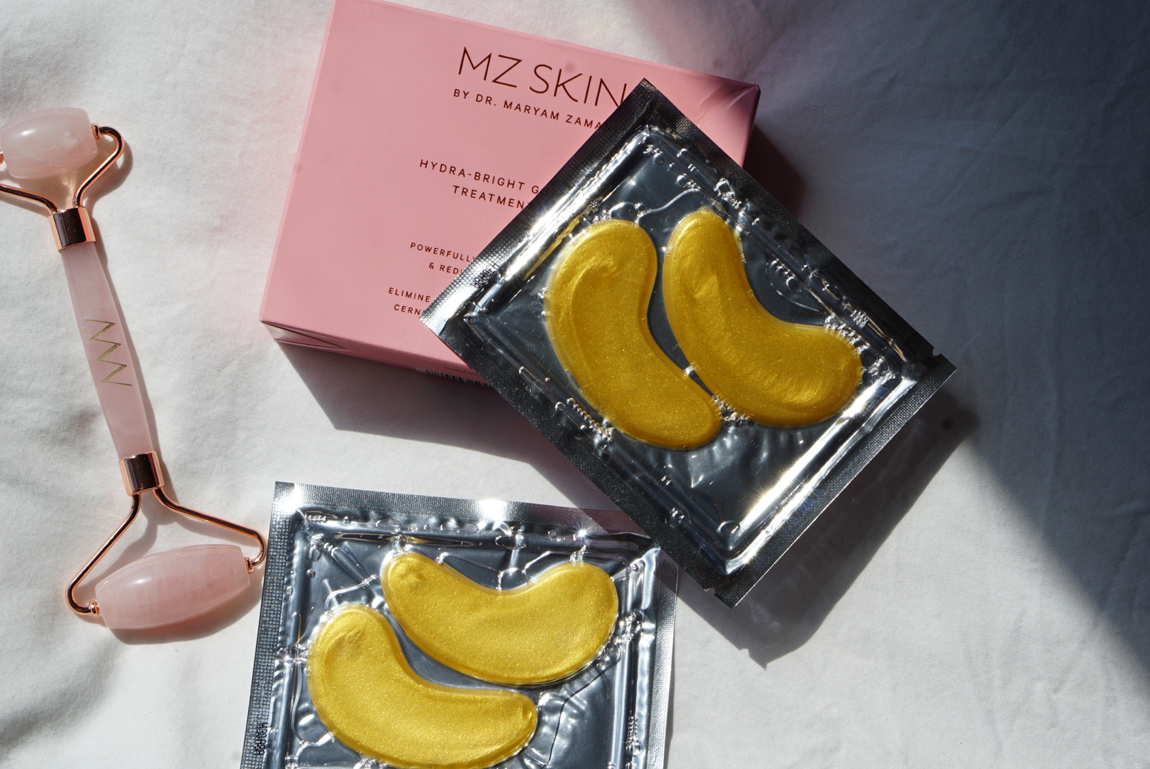 "MZ Skin's Hydra-bright Golden Eye Treatment Mask - The eye masks help restore radiance and ""wakes up"" tired-looking skin. Infused with Nano Gold particles to deeply penetrate the delicate area, the gel eye pads are supercharged with Collagen, Hyaluronic Acid and Seaweed to improve elasticity, minimize the appearance of fine lines and reduce puffiness.This luxury gift makes an impression upon first glance — thanks to the gold! I think this is the type of product that moms never spoil themselves to have, but would obviously never reject as a gift! One box comes with 6 pairs."