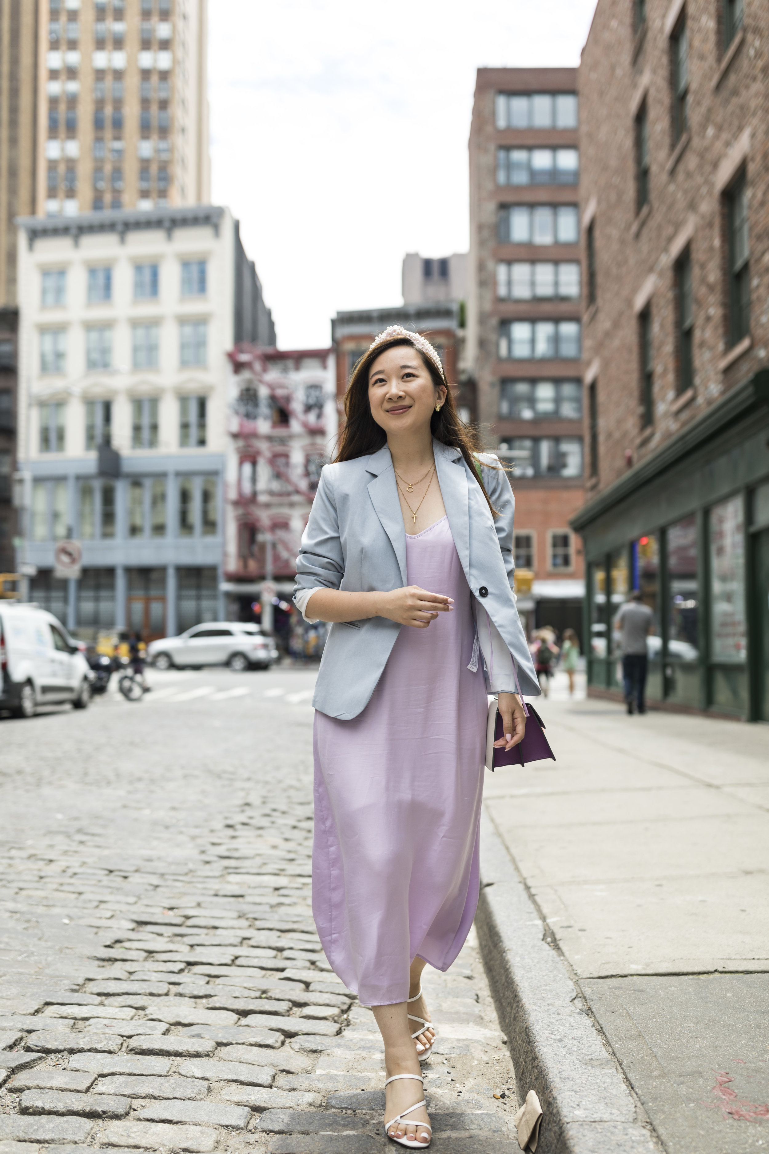 """Running to a Coffee Meeting - A slightly less dress-up version of the """"wedding guest look,"""" this outfit works for the office, and in my case, perfect for coffee meetings!Any blazer can easily work but I picked out one in baby blue because I wanted to stick to the pastel theme.Photo by Ashley Gallerani Photography."""