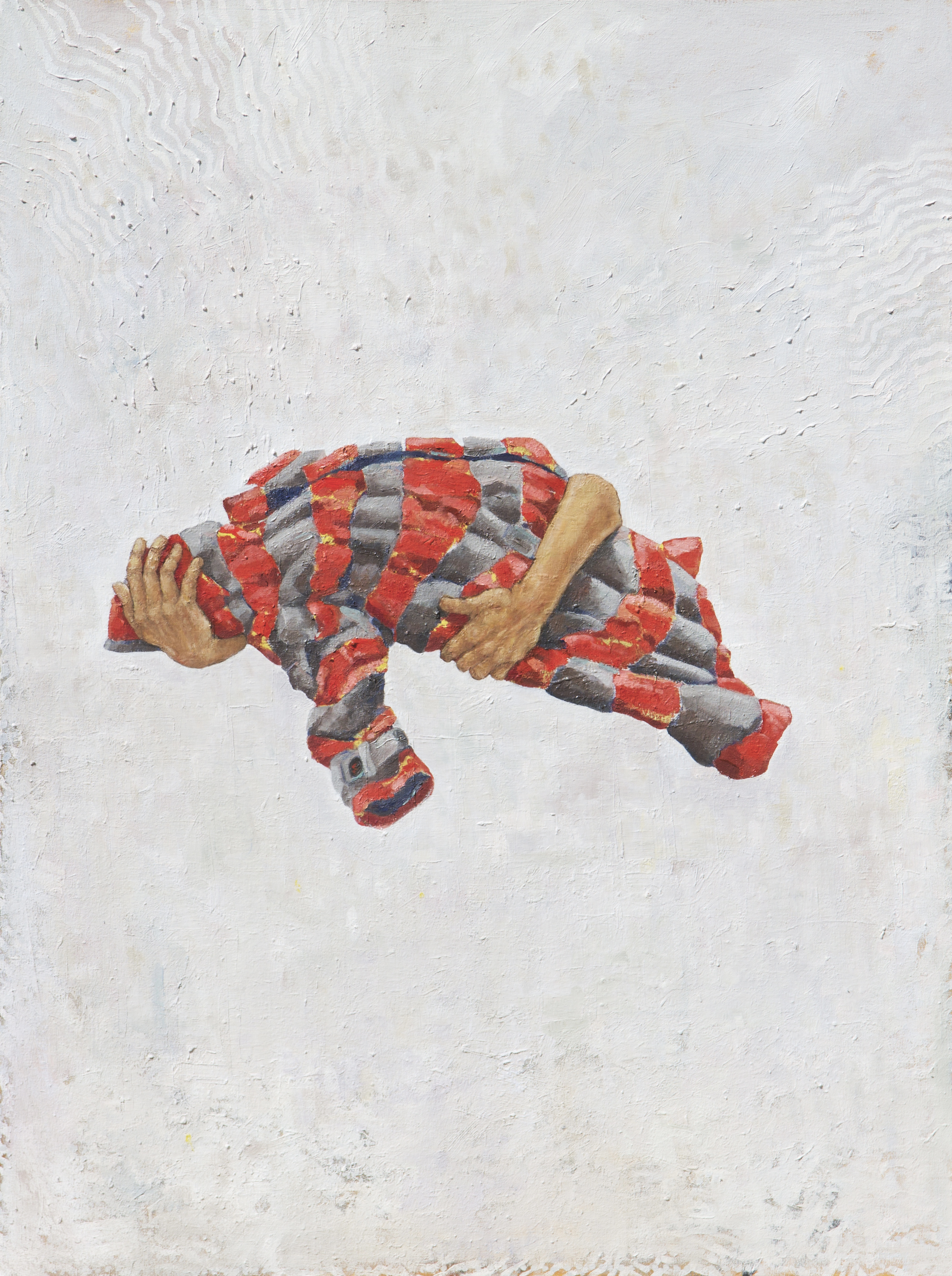 Redefining, Pieta Hands, Displacement, and My Striped Rain Coat.Oil on Canvas, 2017