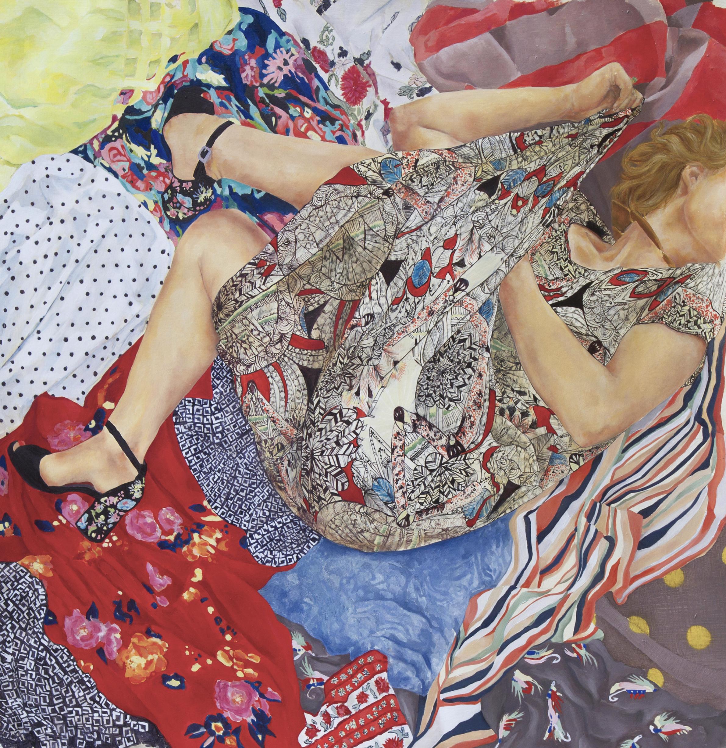 "Self Portrait Inspired by Kieta ft. All of My Patterns, Oil on Paper, 44x46"", 2017"