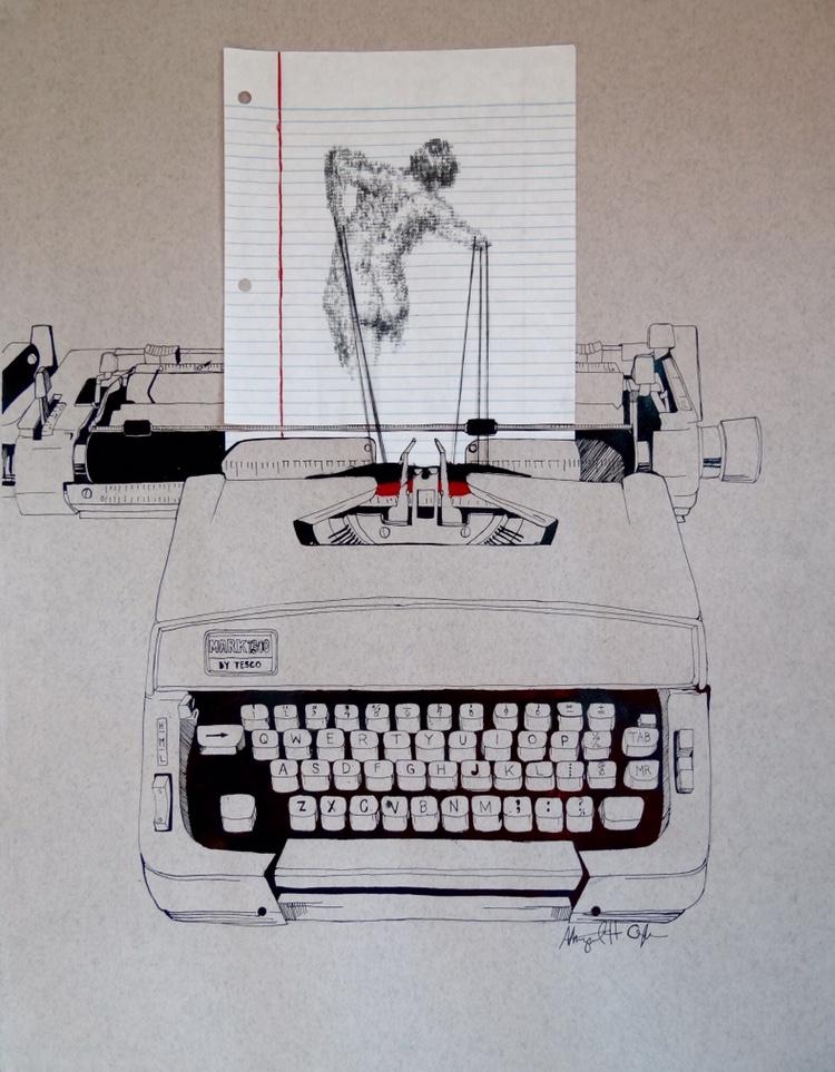 Typewriter Galatea, Notebook Paper, Typewriter Type, Thread, and Ink. April 2015