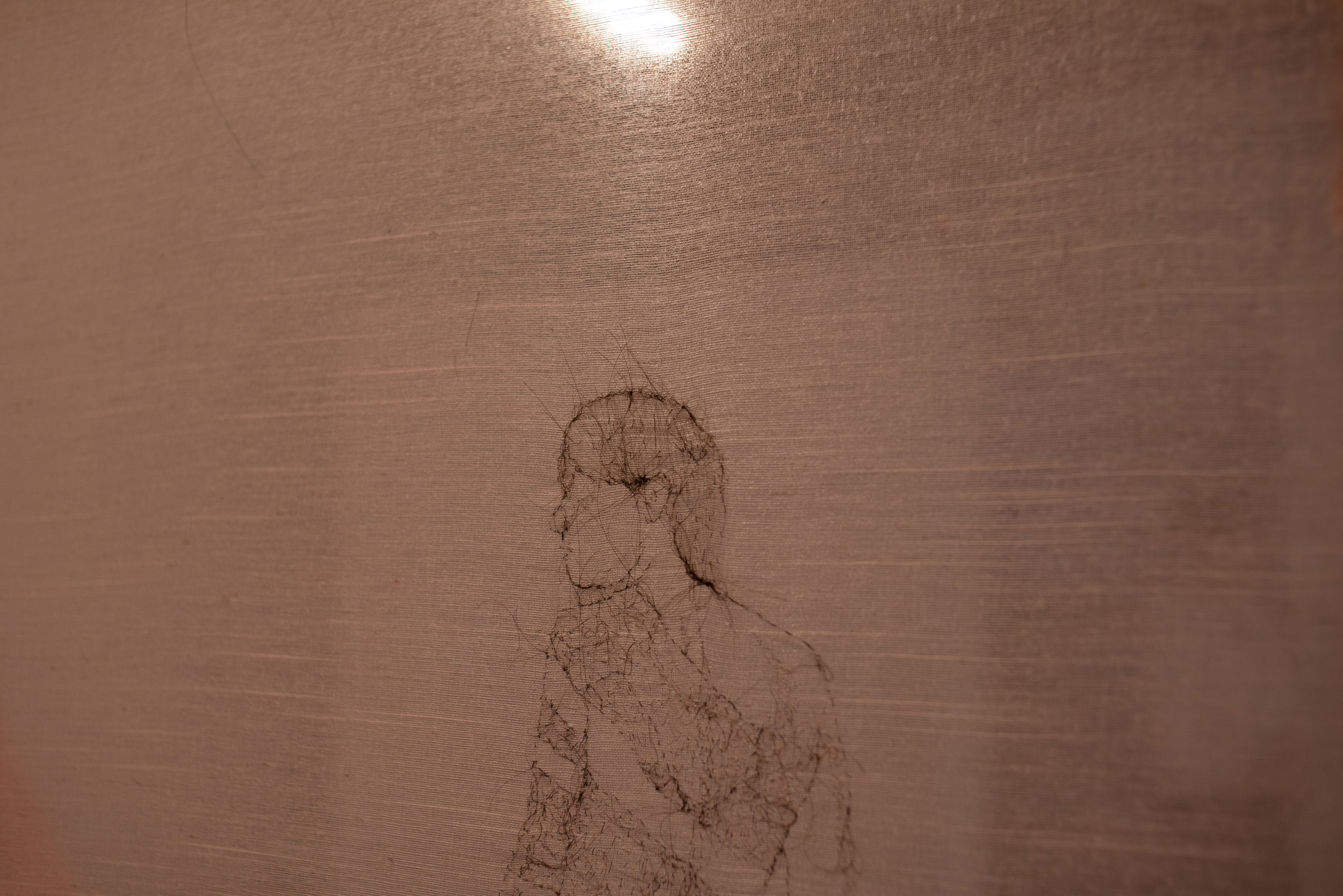 """Human Hair Embroidery on Pink Curtain, 35.5x46.5"""""""