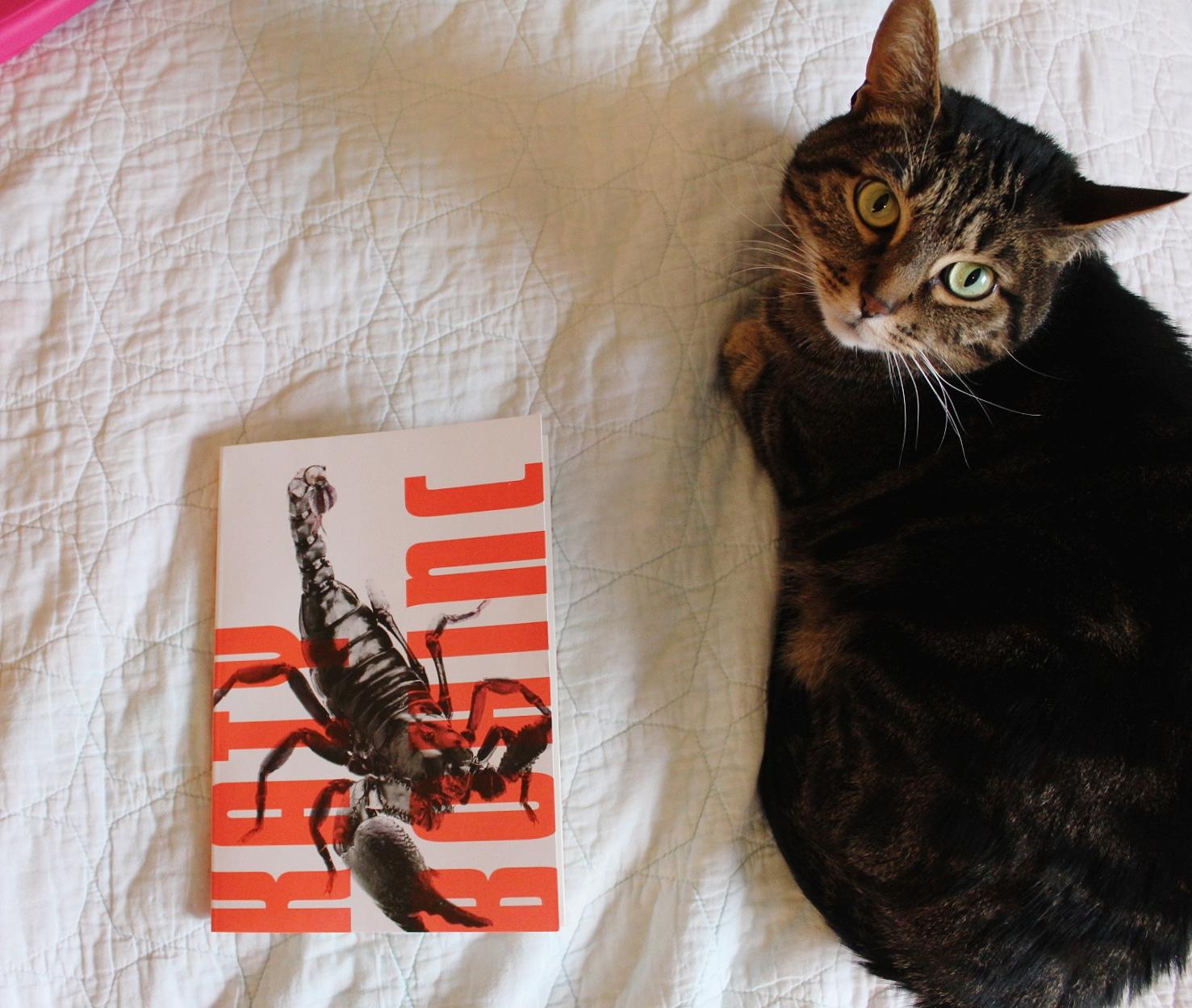 Soup posing with SCORPIO by Katy Bohinc (Miami University Press, 2018)
