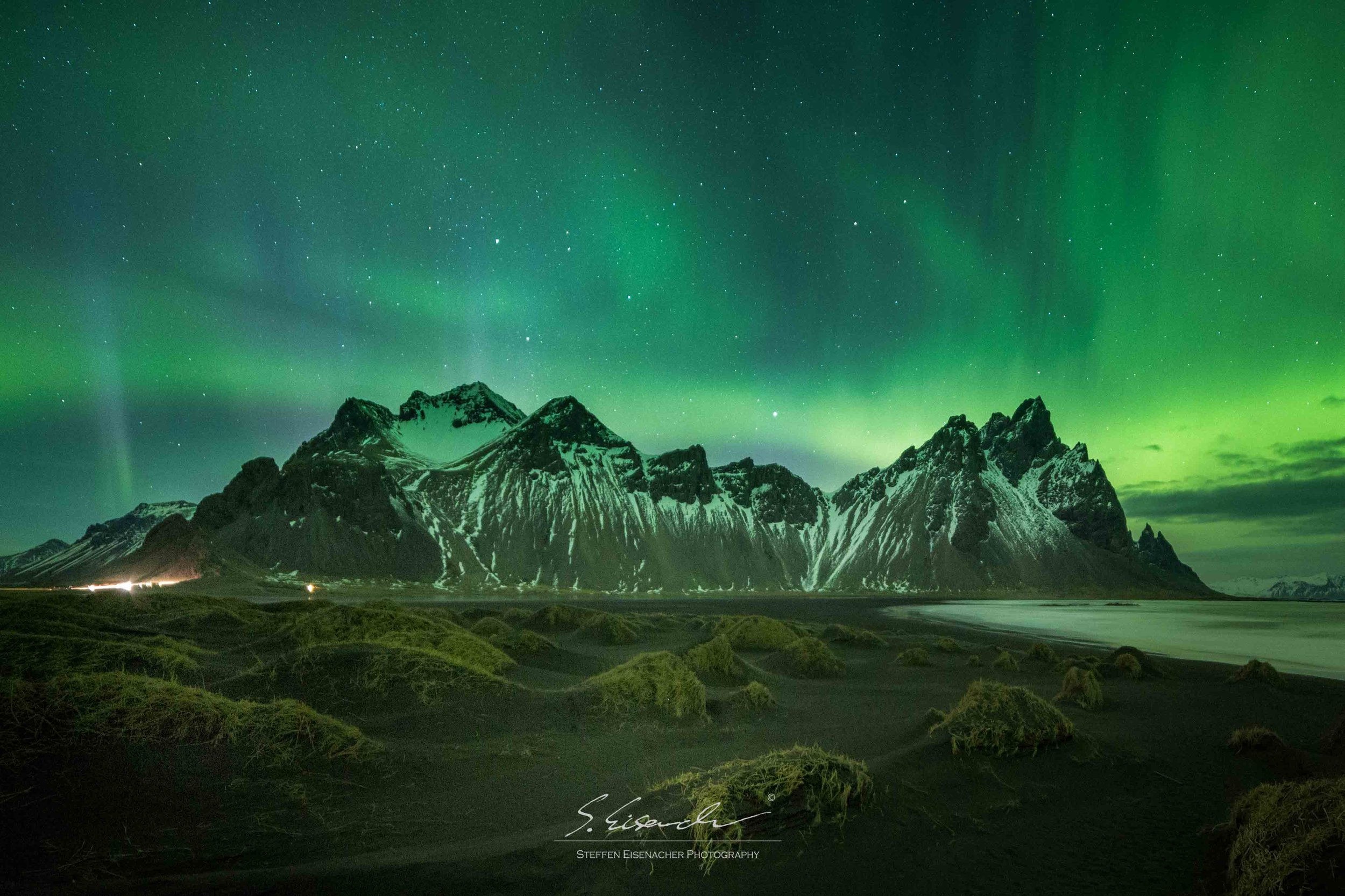 Lights behind Vesturhorn, Iceland. 15seconds f/2.8 ISO4000