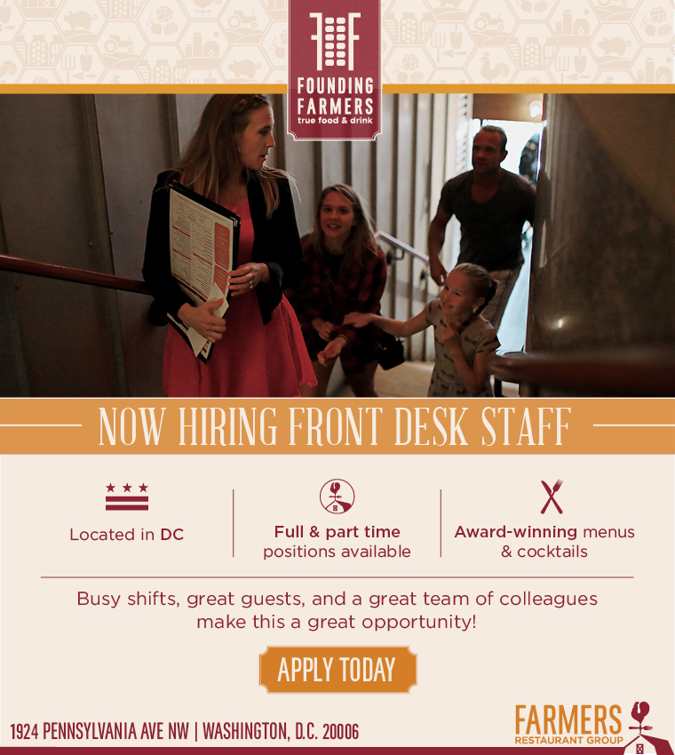 Founding Farmers Restaurant in DC is now hiring for several