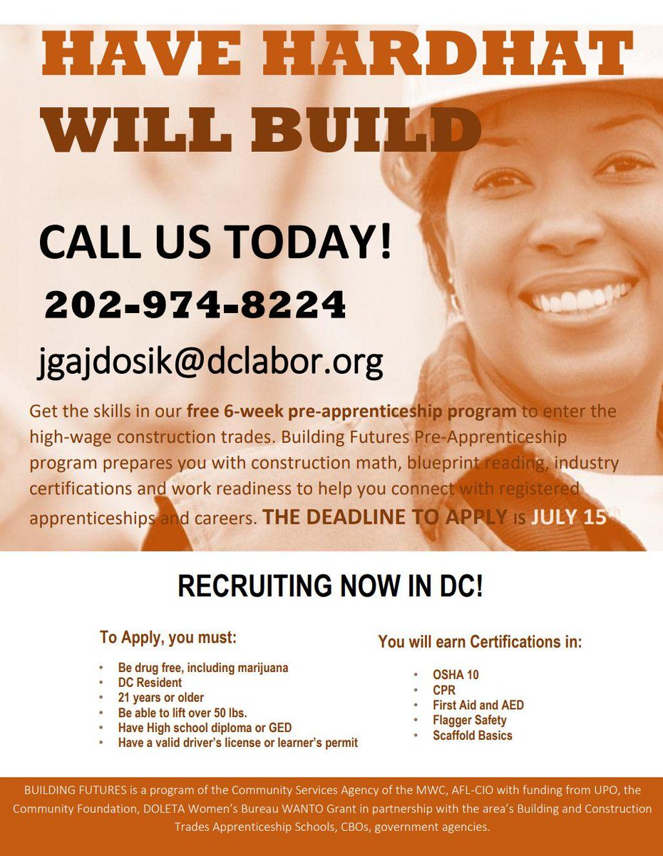 6 Week Construction Pre-Apprenticeship Program — Congress Heights on