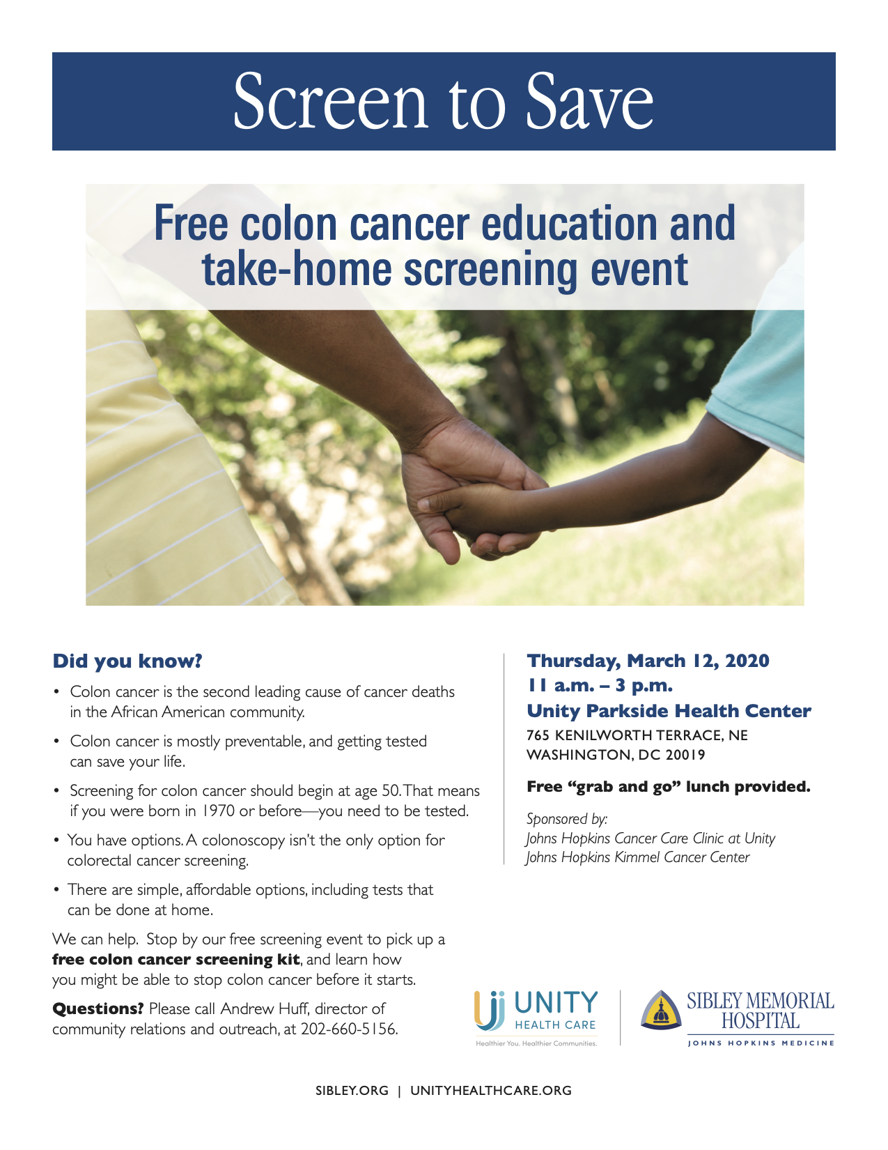 Get A Free Colon Cancer Screening Kit On March 12th At Unity Parkside Health Center Sp Congress Heights On The Rise