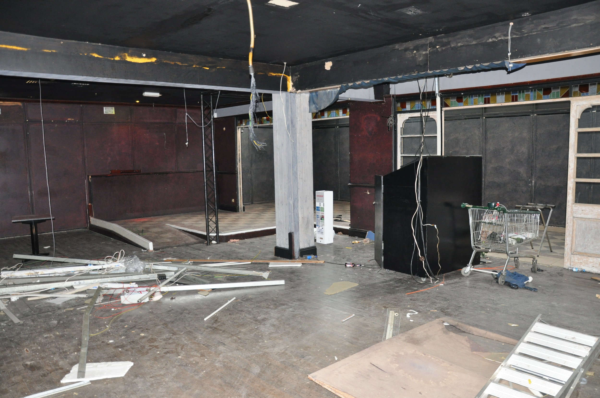 Before | view from what is now the caged vesting room looking onto café to the right and party booths centre and right