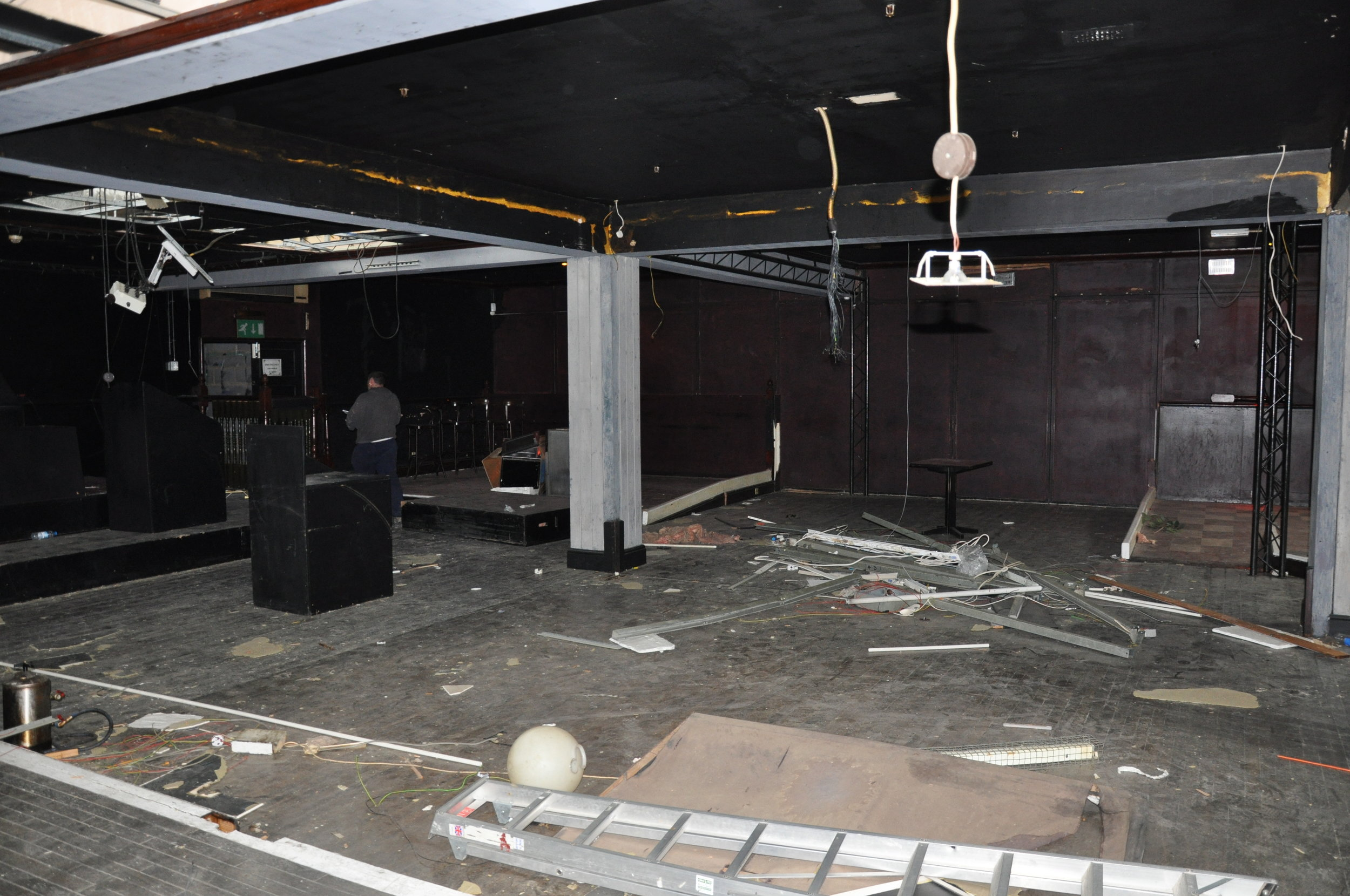 Before | view from what is now the caged vesting room looking onto café to party booths