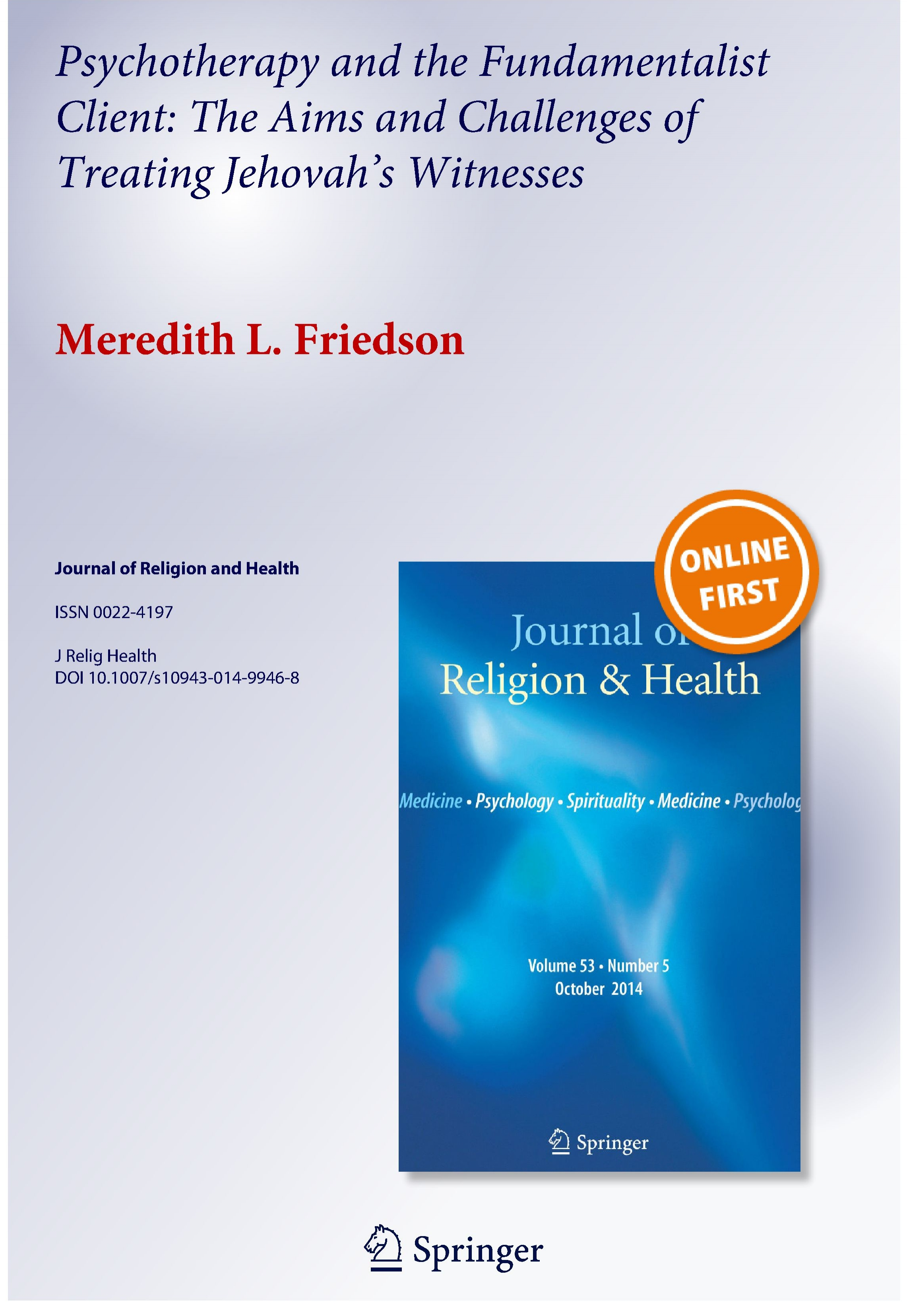 Psychotherapy and the Fundamentalist Client - The Aims and Challenges of Treating Jehovah's Witnesses_Friedson, M._2014_COVER.jpg