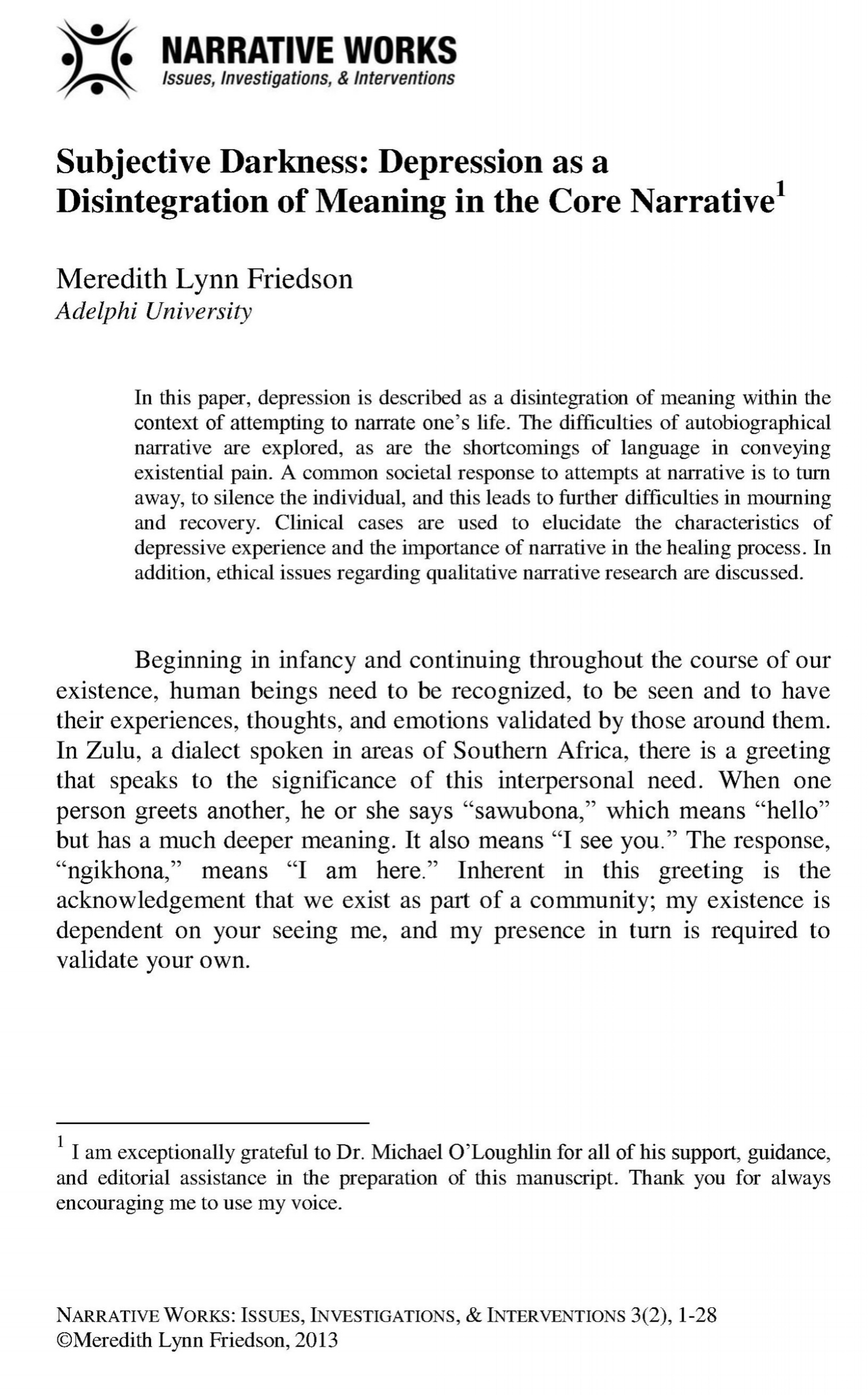 Subjective Darkness - Depression as a Disintegration of Meaning in the Core Narrative_Friedson, M._2013_3-17-14_COVER.jpg