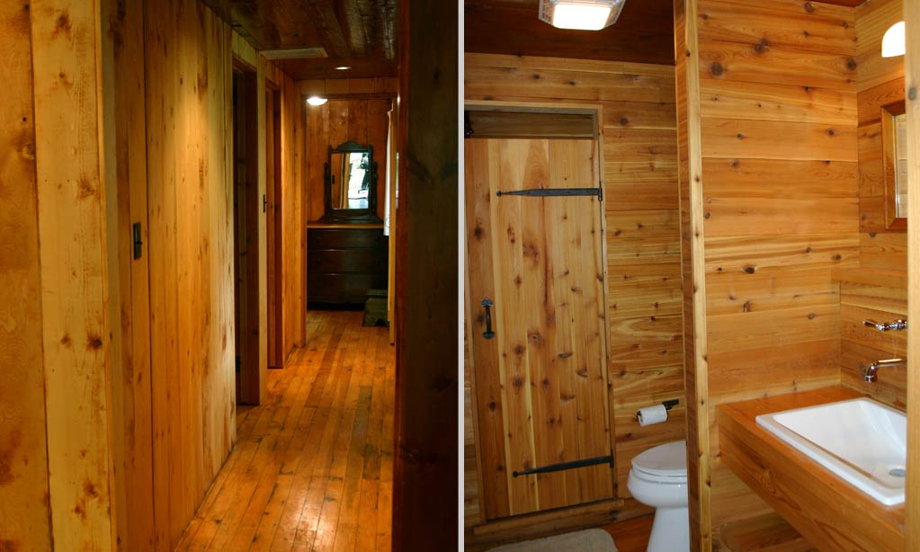 They are located down a long hallway off the living room, and share a second cedar-lined bathroom.