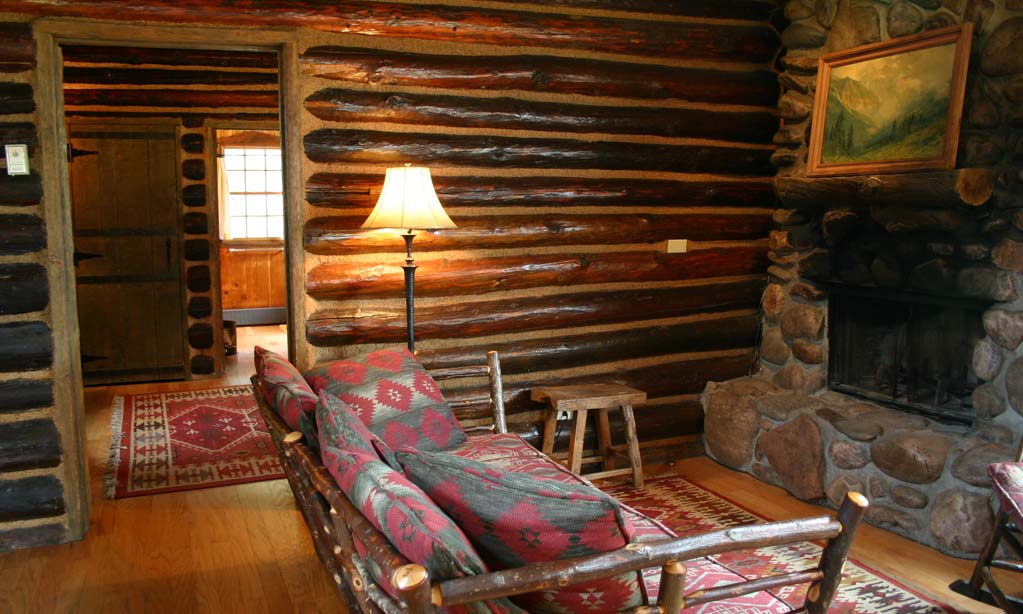 ...and a carefully-crafted stone fireplace. Ponderosa is one of the most popular cabins.