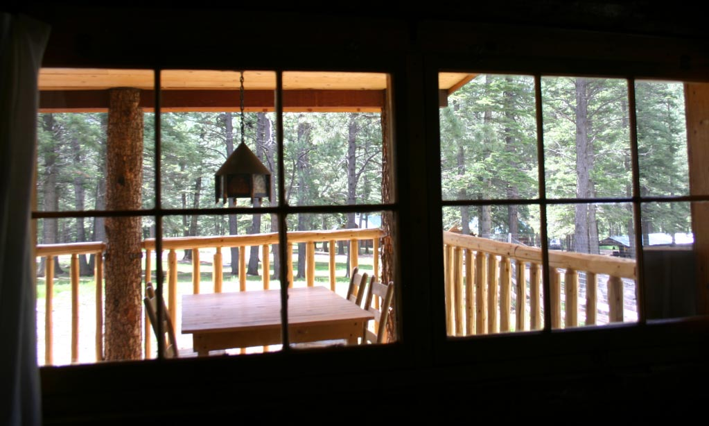 ...looks out onto the porch. The bathroom has a cedar-lined shower.
