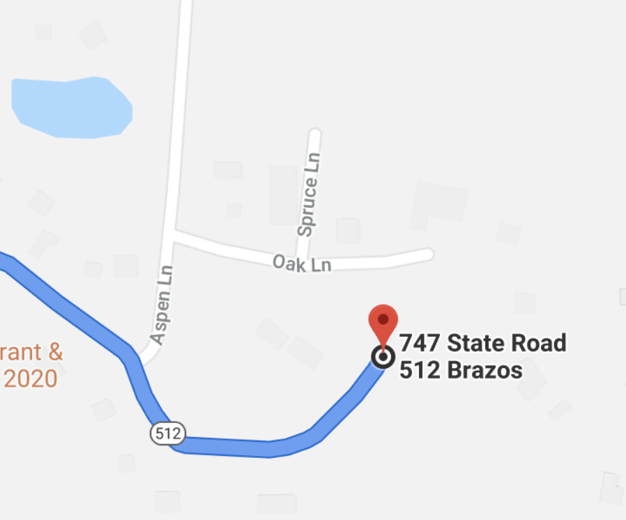 This is the correct way to get to us, do not turn on Aspen or Oak lane but follow Highway 512 until the every end of the road.