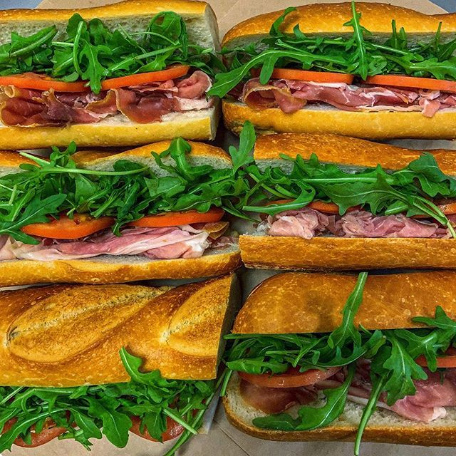 The simplest pairing can have the most satiable consequences on your tastebuds. Thin and salty prosciutto, nutty arugula, juicy tomato, on a perfectly crusted baguette. Check your shirt for drool before continuing to scroll.