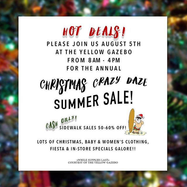 Come early!  You don't want to miss these sales!